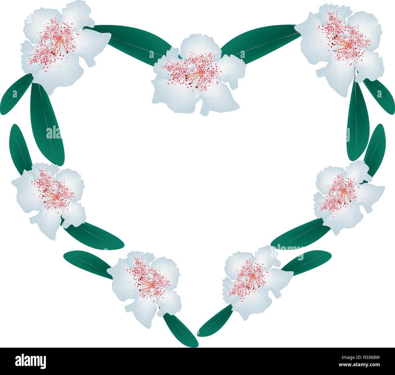 Love Concept, Illustration of White Rhododendron Flowers Forming in Heart Shape Isolated on White Background. - Stock Vector