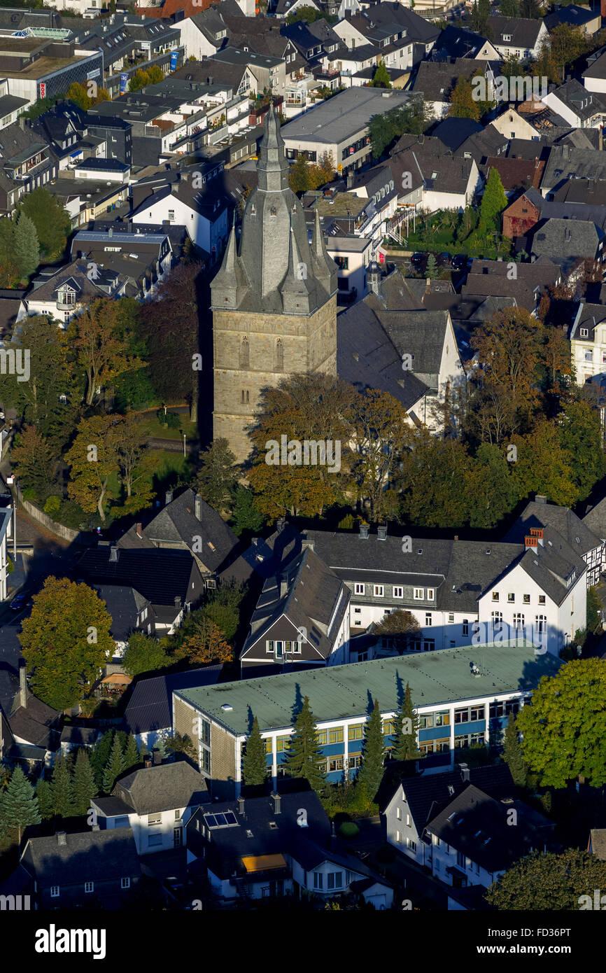 Aerial view, Brilon city center with Provost Church, Brilon, Sauerland, North Rhine Westphalia, Germany, Europe, Stock Photo