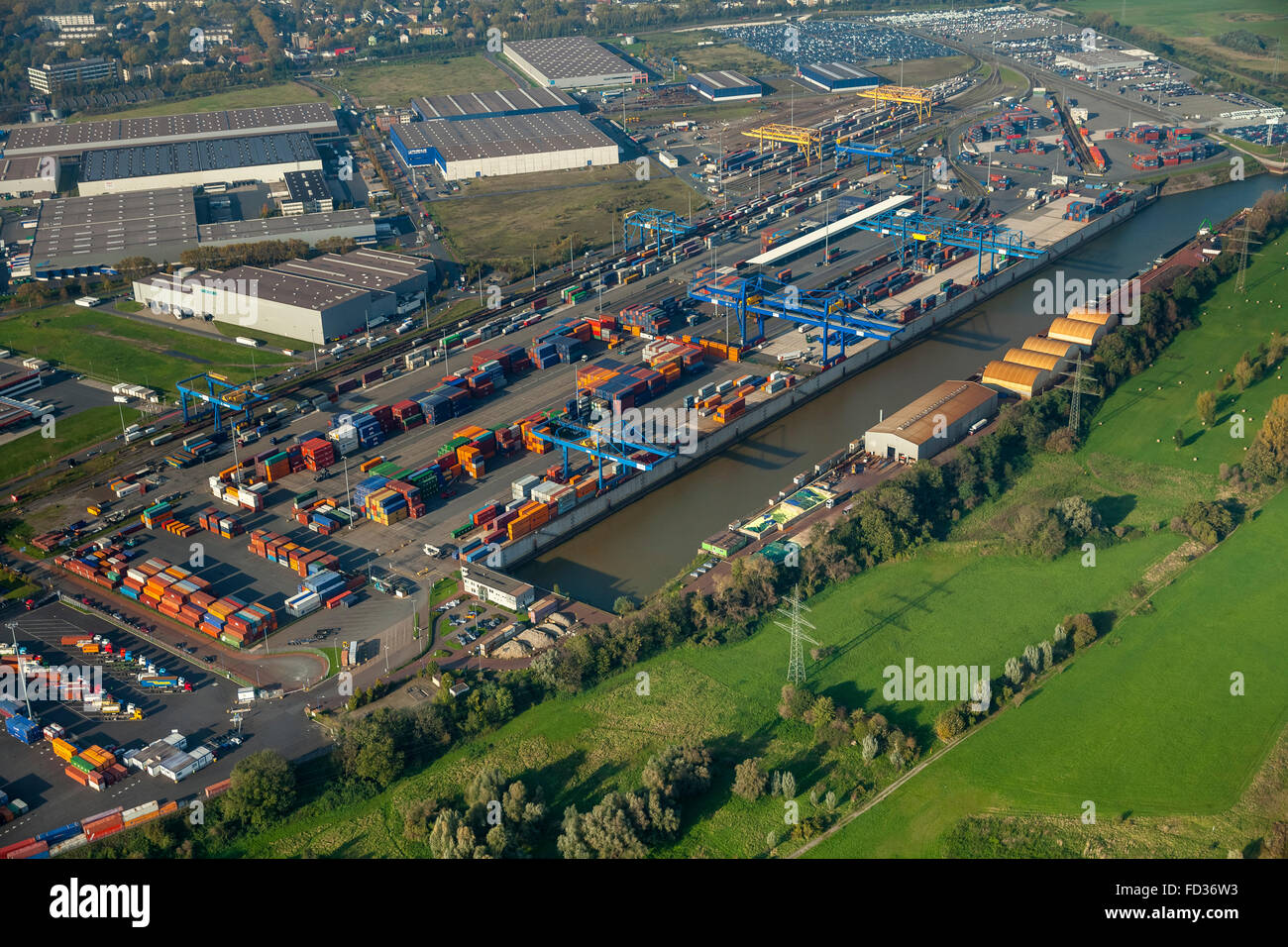 Aerial view, container, container loading, gantry crane, logistics, cargo handling, the port of Duisburg, Logport - Stock Image