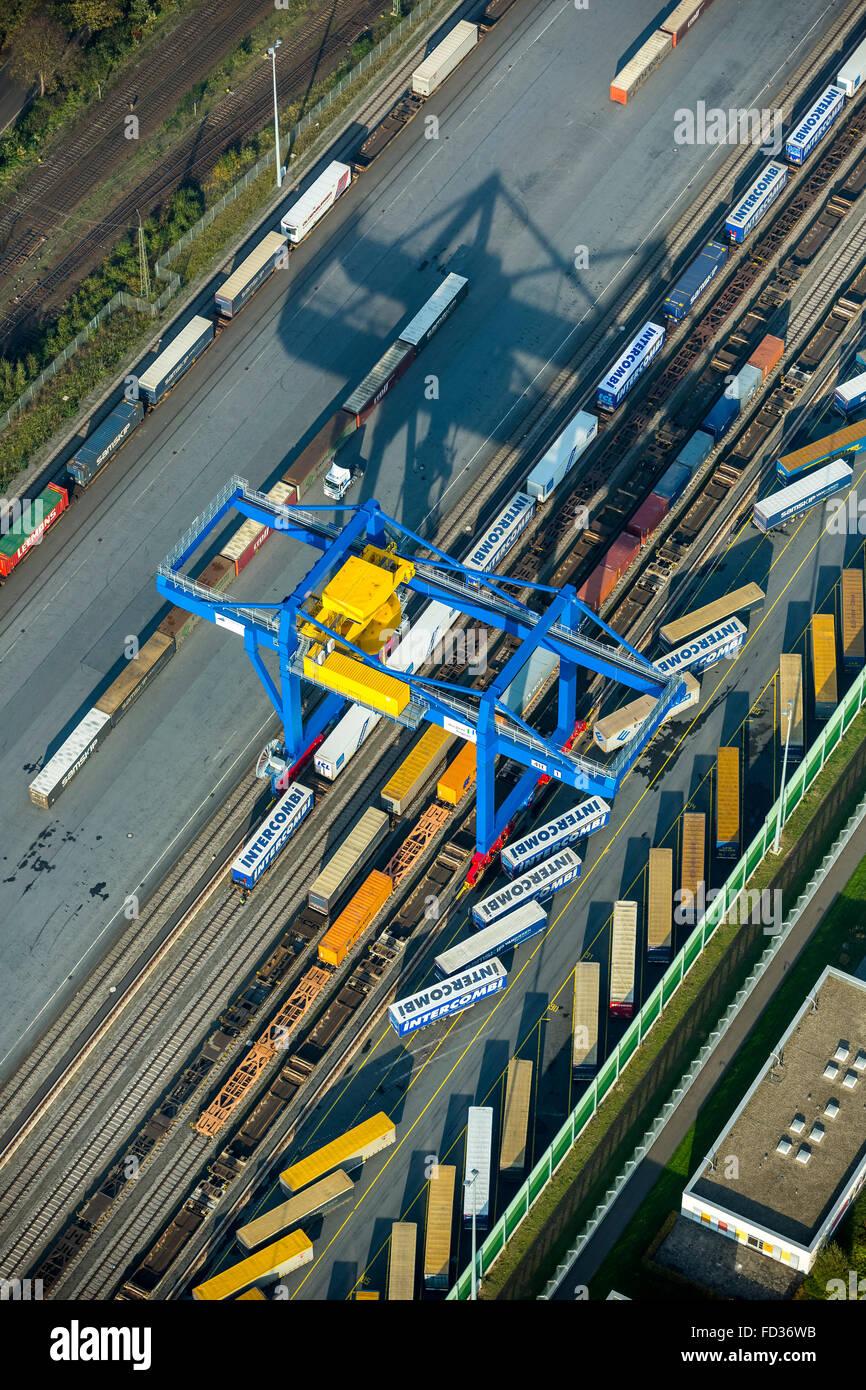 Aerial view, container, container loading, gantry crane, logistics, cargo handling, gantry crane, Logport III, Duisburg - Stock Image