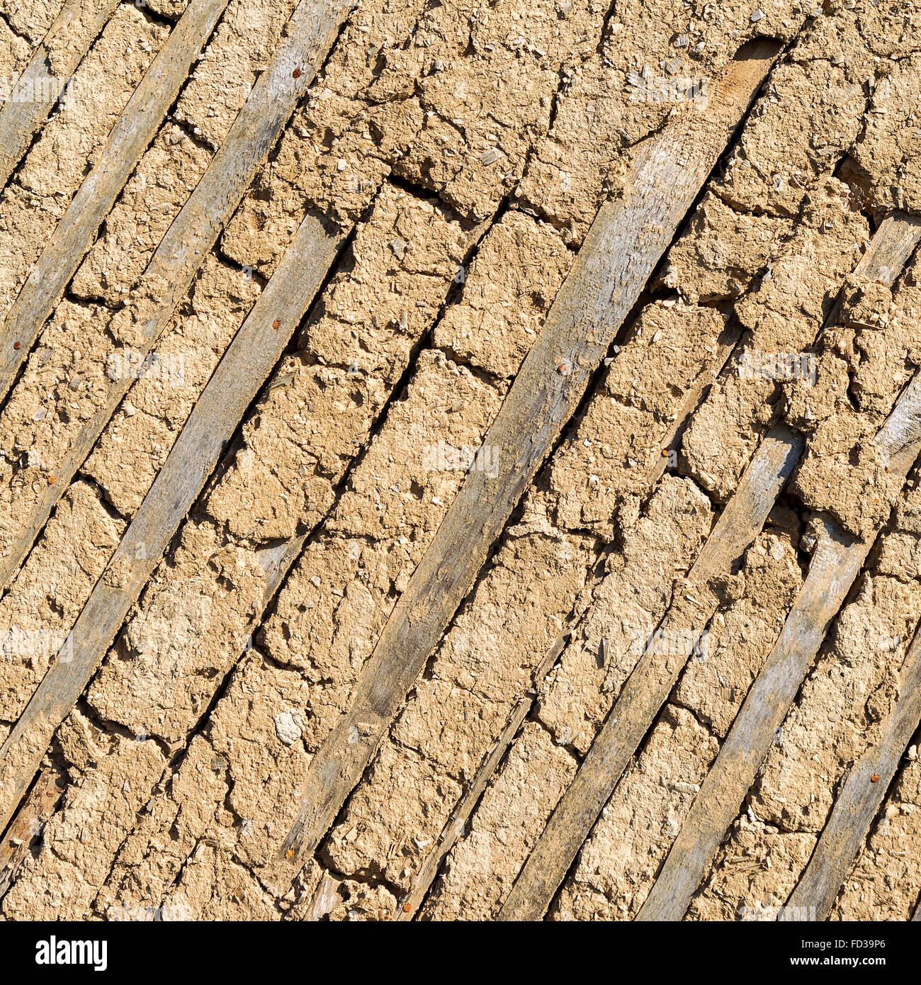 Texture of the old adobe walls, old plaster, retro construction technology of the 18th century country house - Stock Image