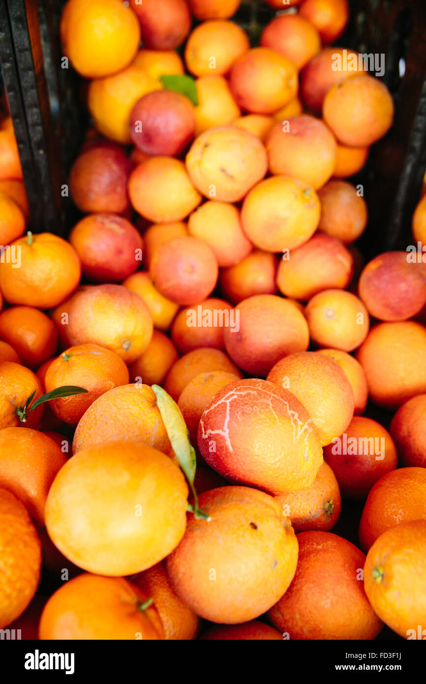 Vibrant oranges are displayed at a booth in the farmers market in Santa Monica, California. - Stock Image