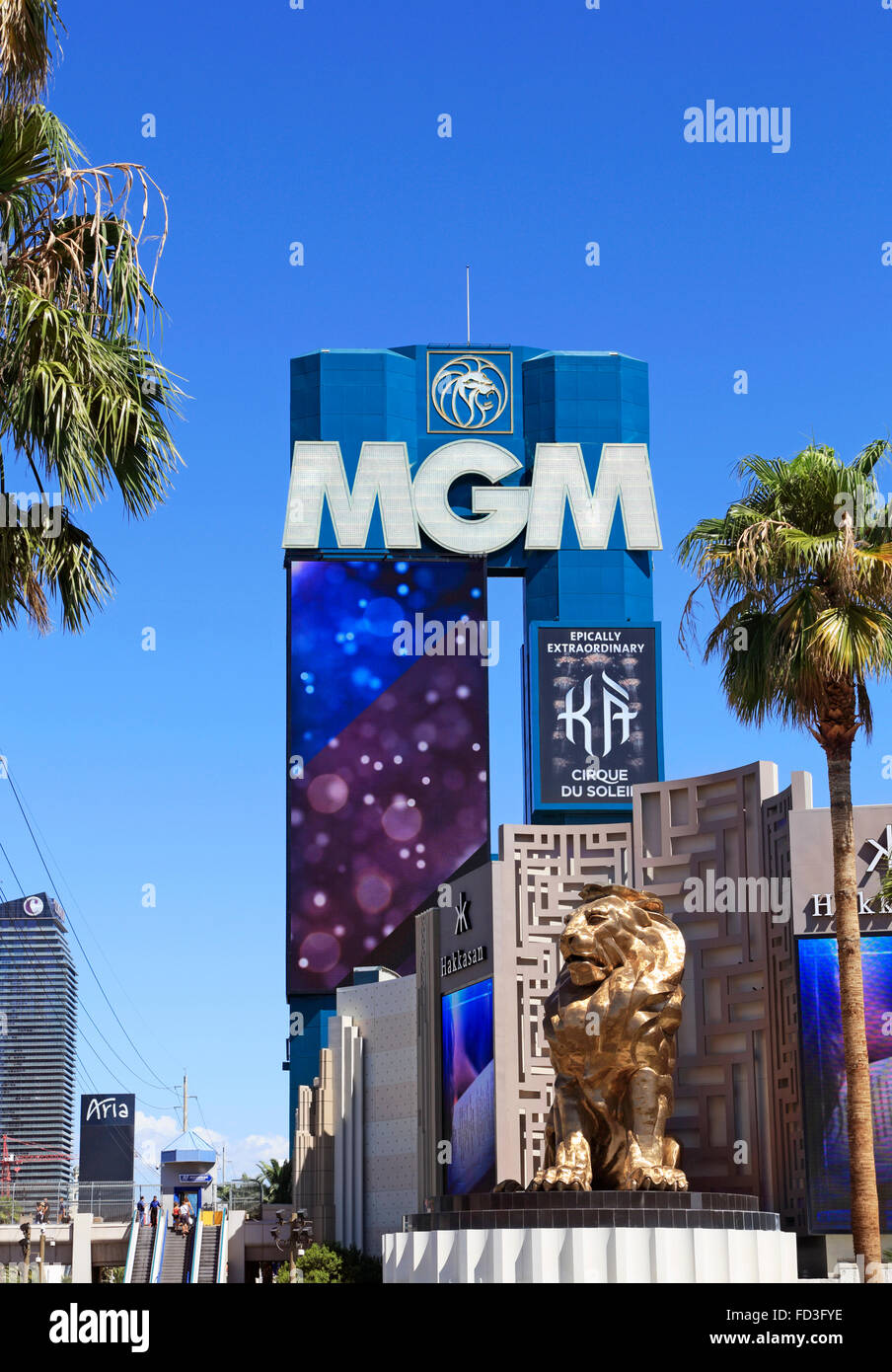 MGM Grand Lion and sign, Las Vegas. - Stock Image