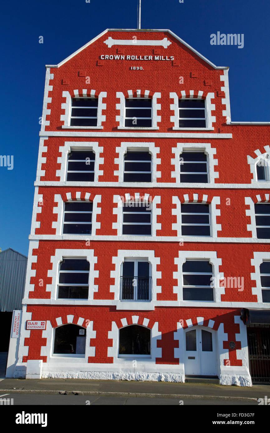 Historic Crown Mills Building, Dunedin, Otago, South Island, New Zealand - Stock Image