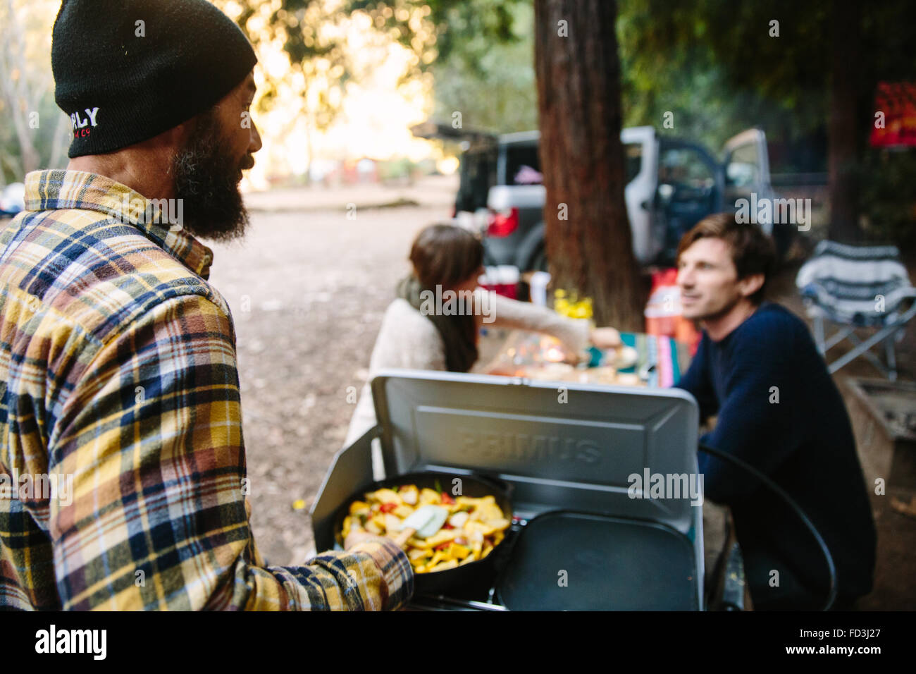 Breakfast is ready at a campsite in Big Sur, California - Stock Image