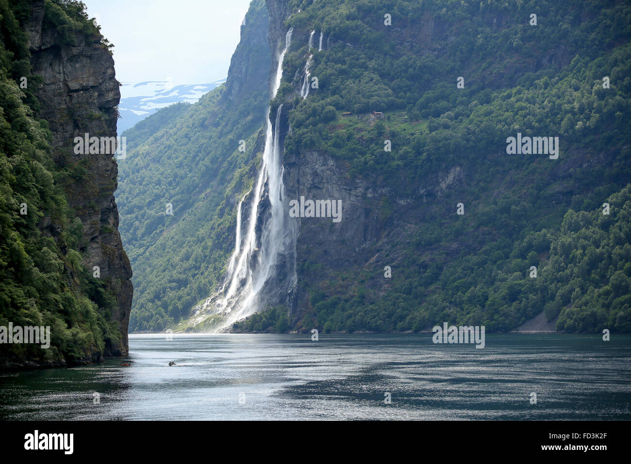 Norway, Geiranger Fjord, cascading waterfalls. - Stock Image