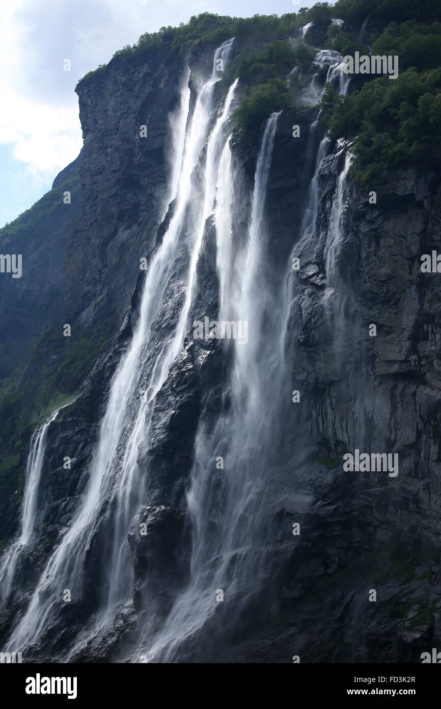 Norway, Geiranger Fjord, detail of cascading waterfalls. - Stock Image