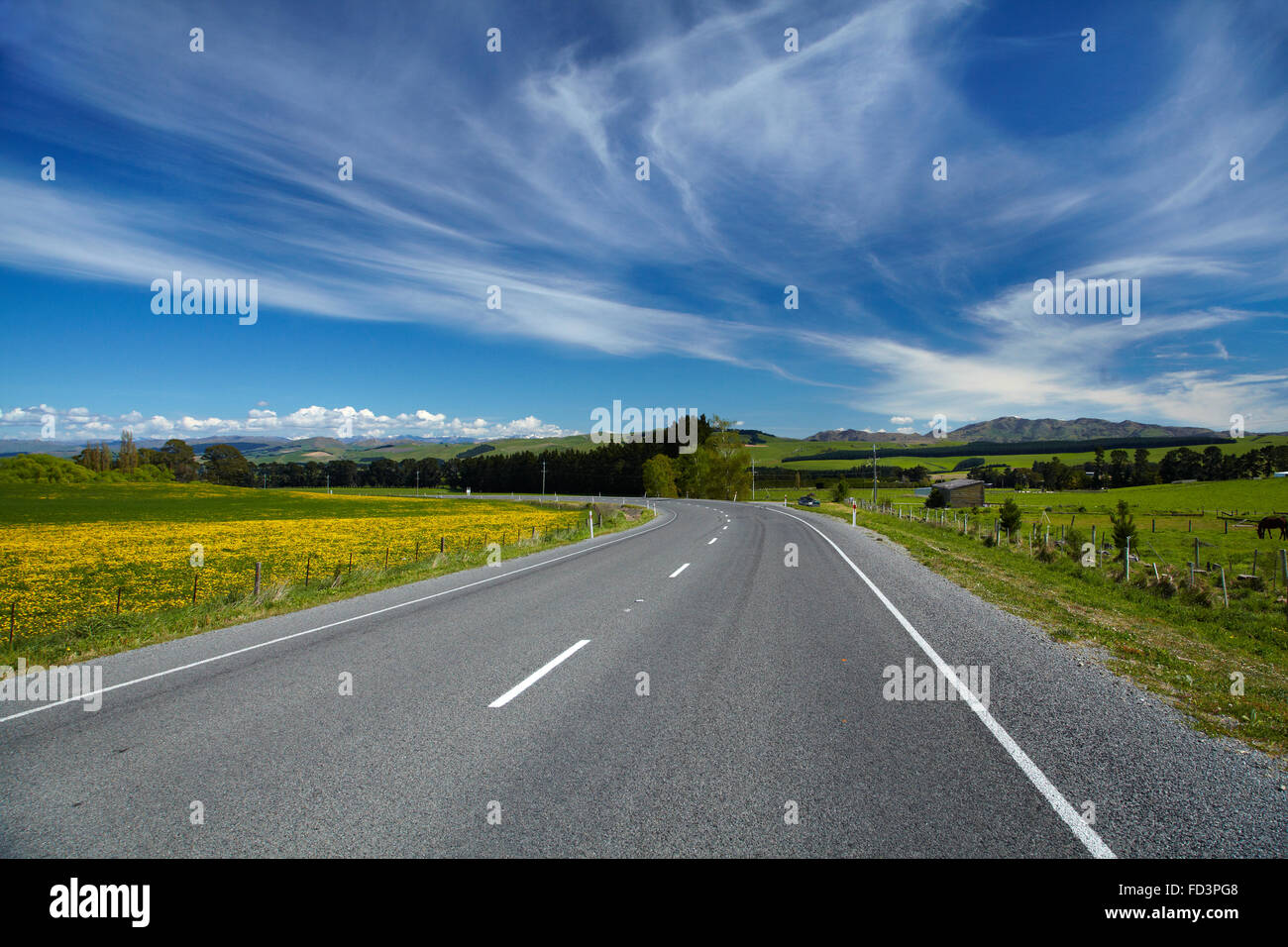 State Highway One and farmland, near Greta Valley, North Canterbury, South Island, New Zealand - Stock Image