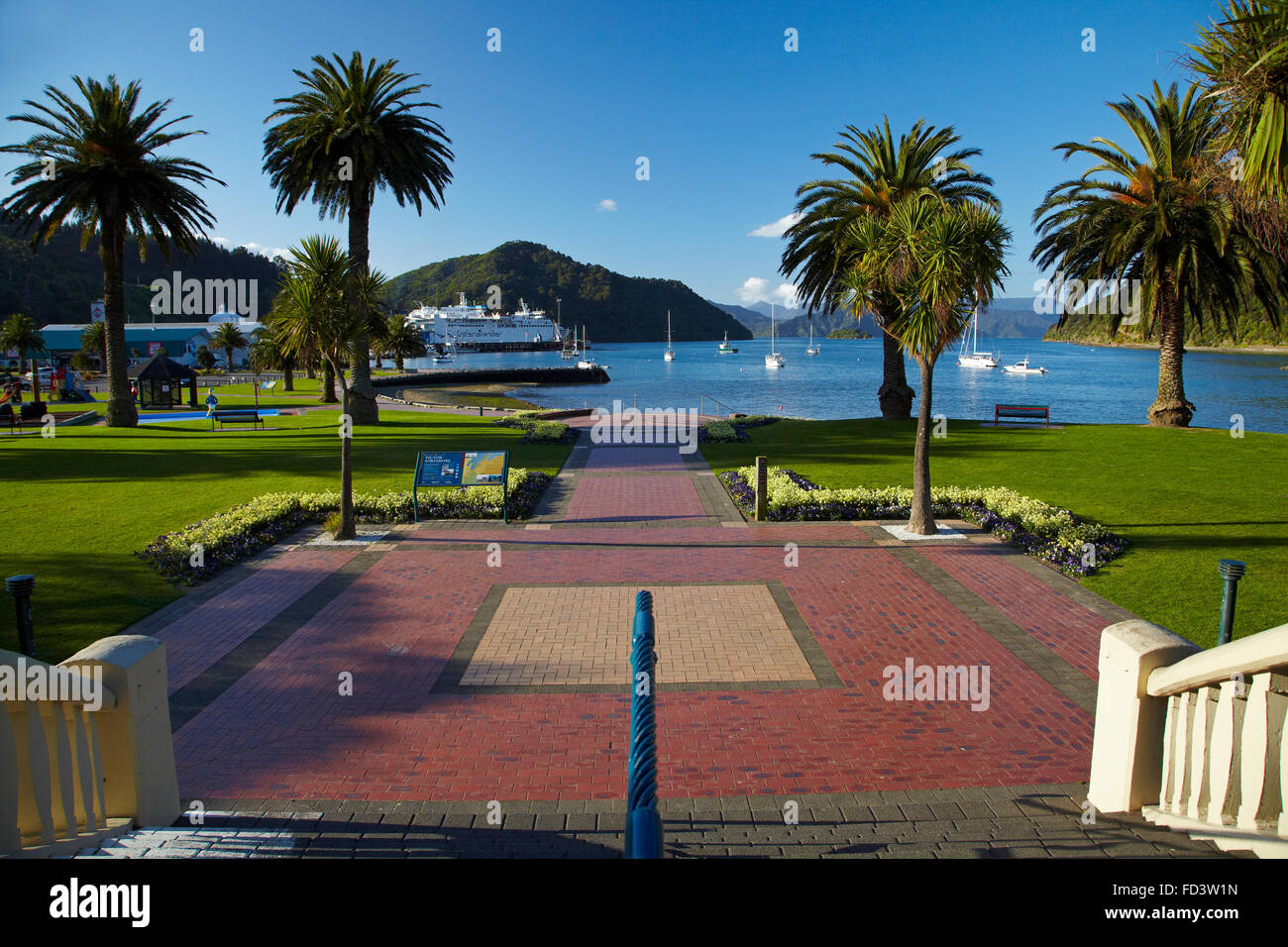 Foreshore Reserve, Picton, Marlborough Sounds, South Island, New Zealand - Stock Image