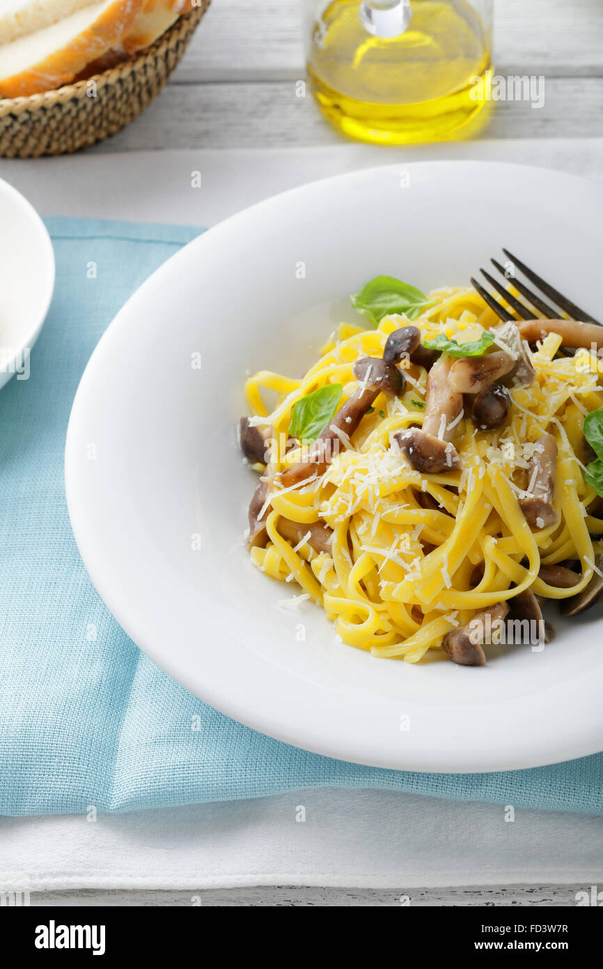pasta on white plate, food close-up - Stock Image