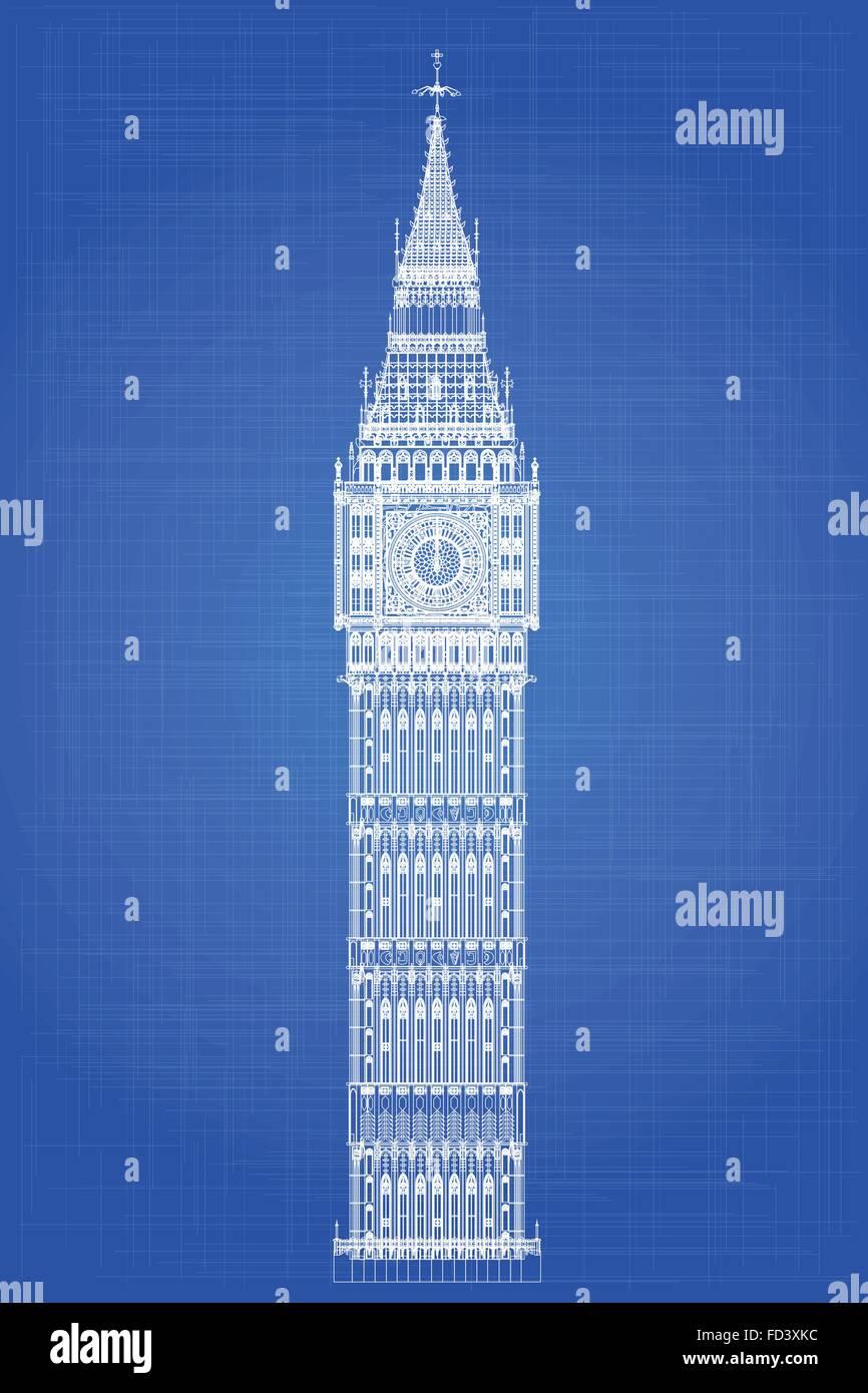 The london landmark big ben clocktower as a blueprint stock vector the london landmark big ben clocktower as a blueprint malvernweather Gallery