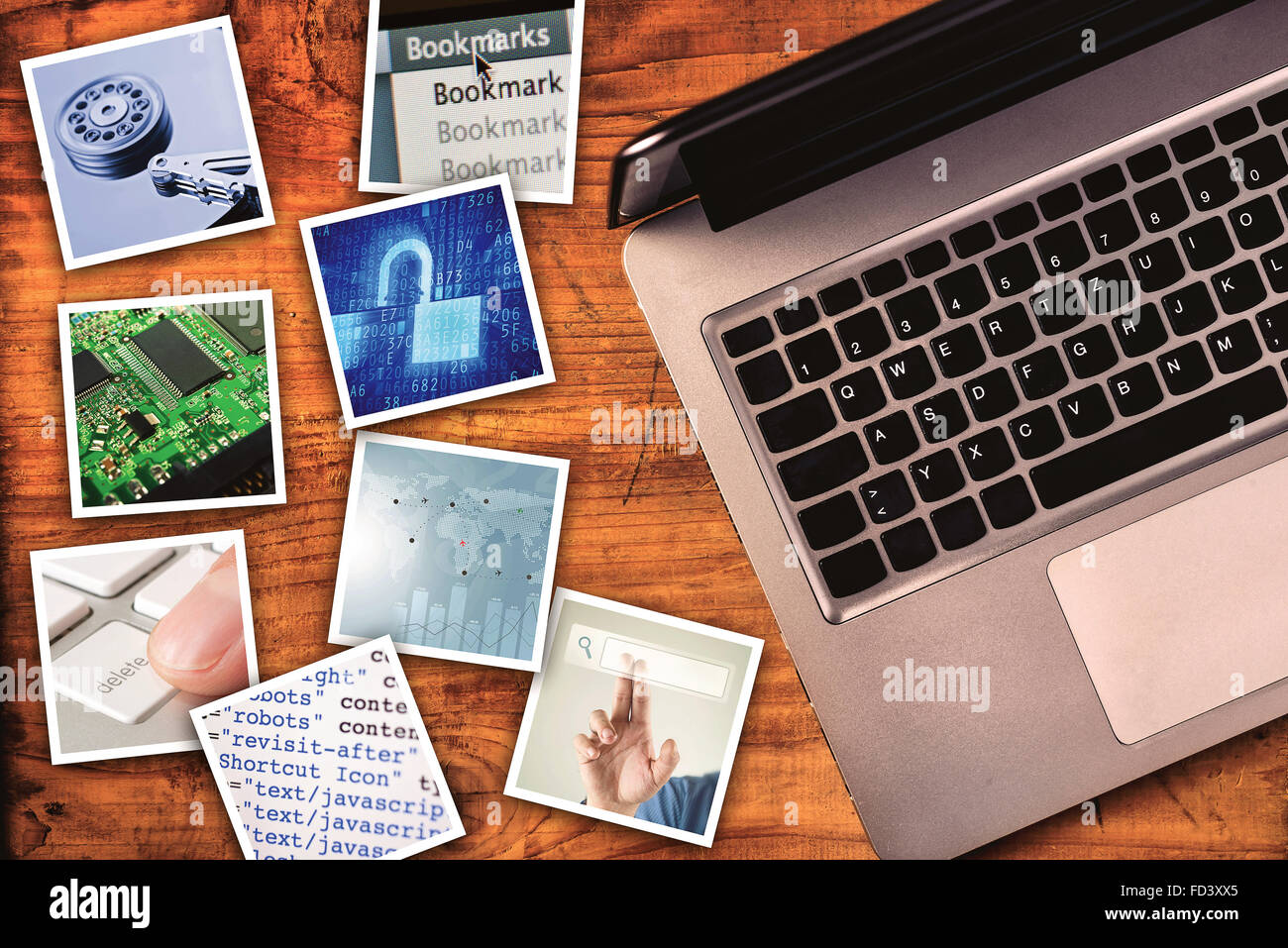 Modern computer information technology photo collage, stack of tech and internet themed pictures on wooden office - Stock Image