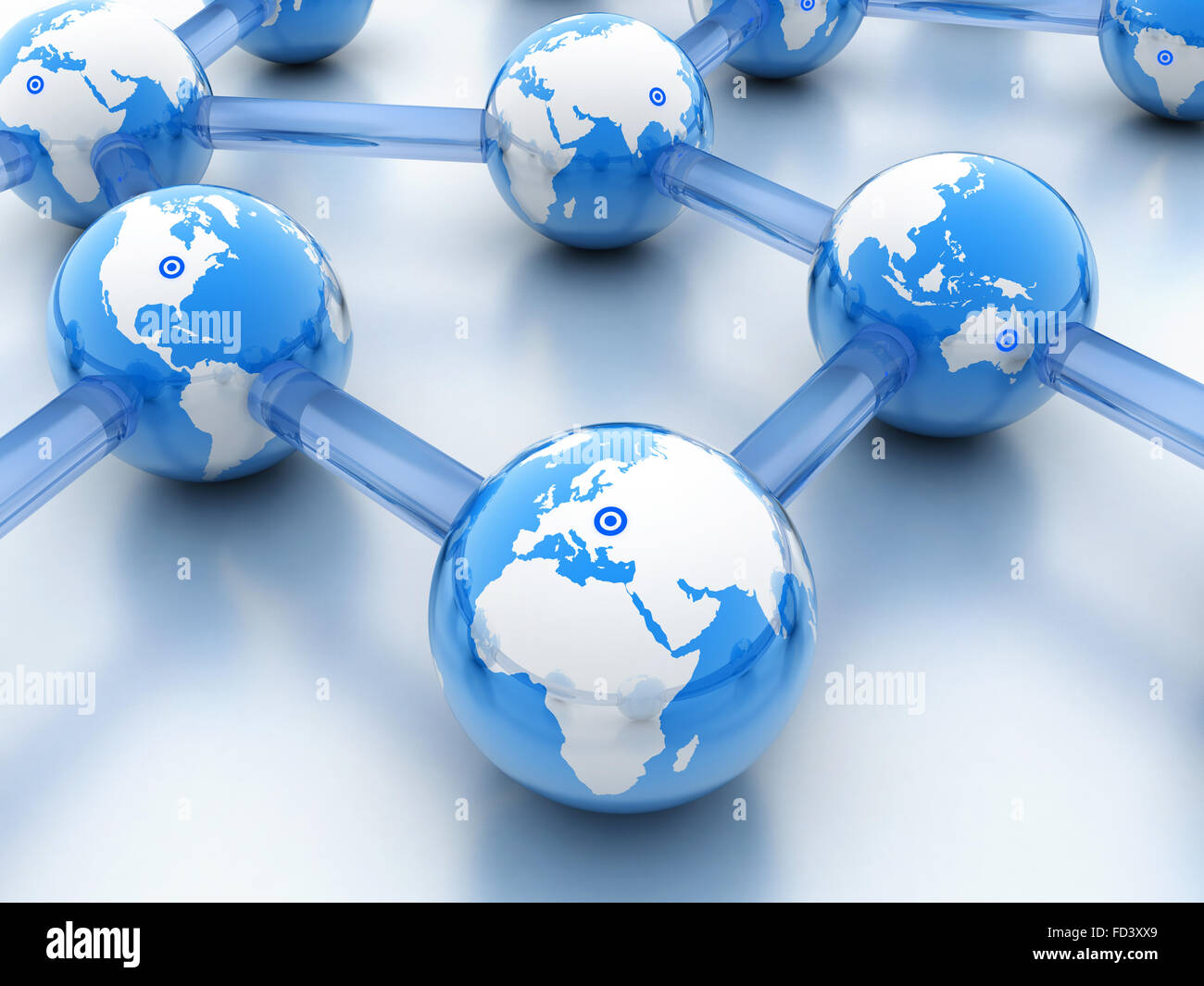 Abstract World-wide web on blue background (done in 3d) - Stock Image