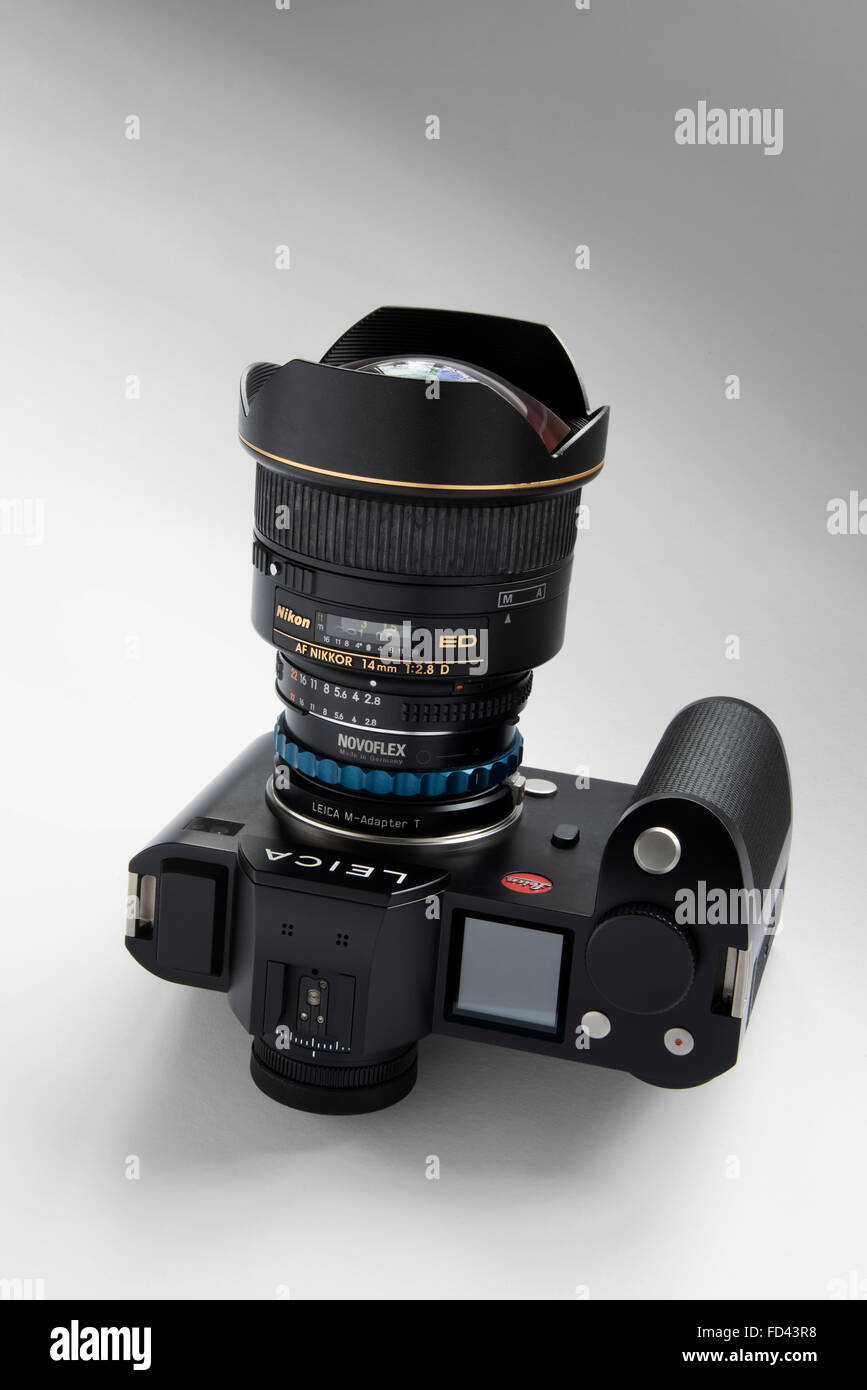 Leica SL Camera Body fitted with Nikon 14mm super wide angle