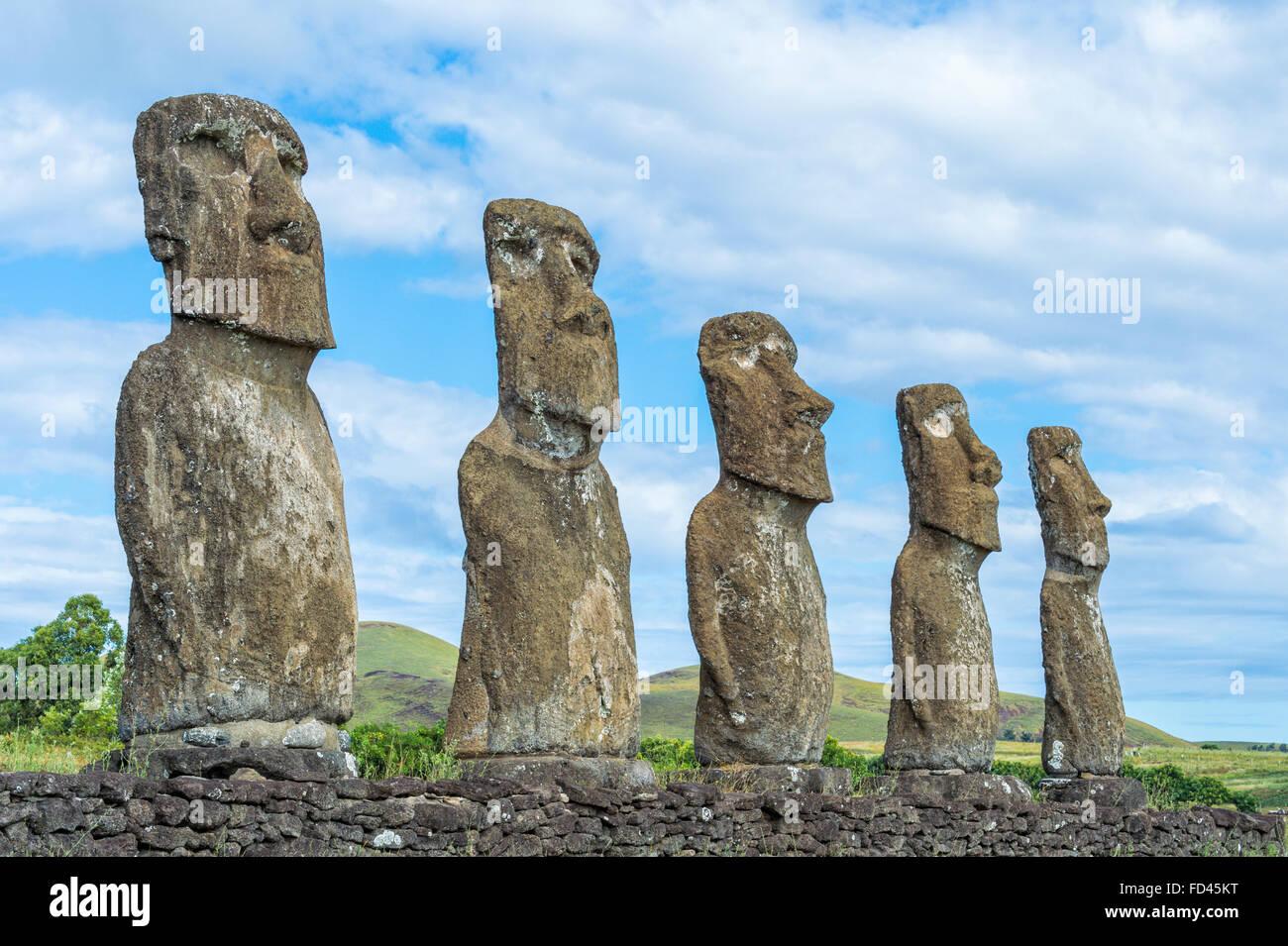 Ahu Akivi, Ahu Akivi Moais, Chile, Easter Island, Rapa Nui National Park, Unesco World Heritage Site - Stock Image