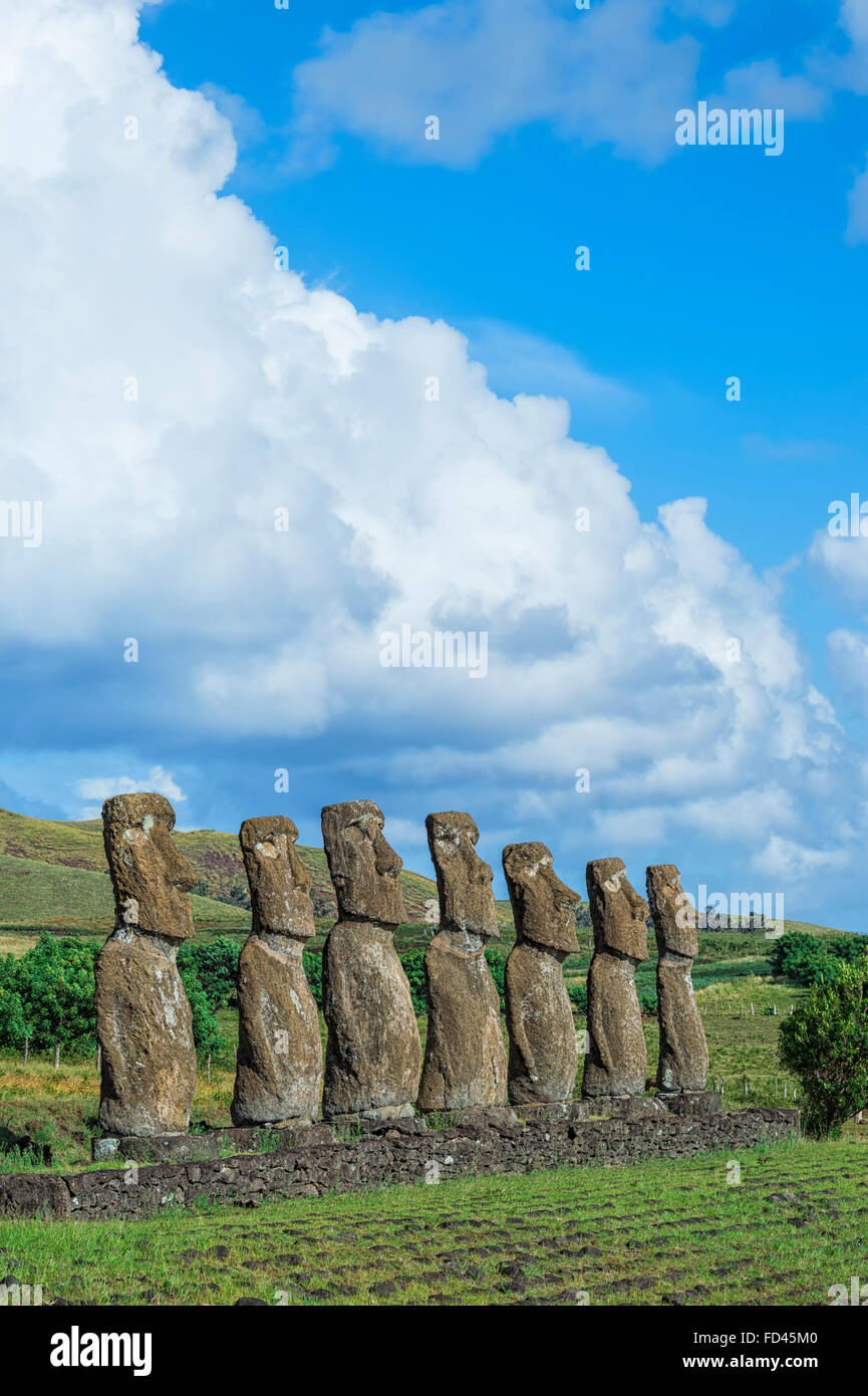 Ahu Akivi, Ahu Akivi Moais, Chile, Easter Island, Rapa Nui National Park, Unesco World Heritage Site - Stock Image