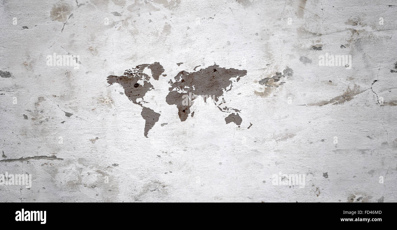 Grey wall with world map image. Globalization - Stock Image