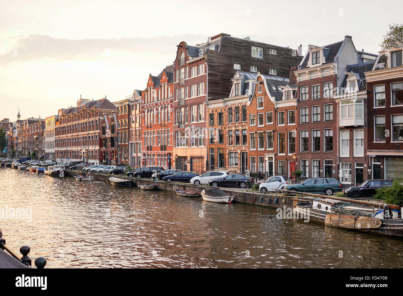 Amsterdam - June 12: Prinsengracht canal a beautiful sunset on June 12, 2015 - Stock Image