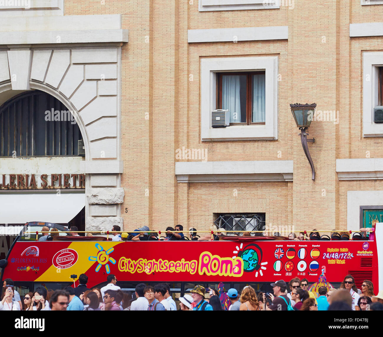 City Sightseeing bus Rome Lazio Italy Europe - Stock Image