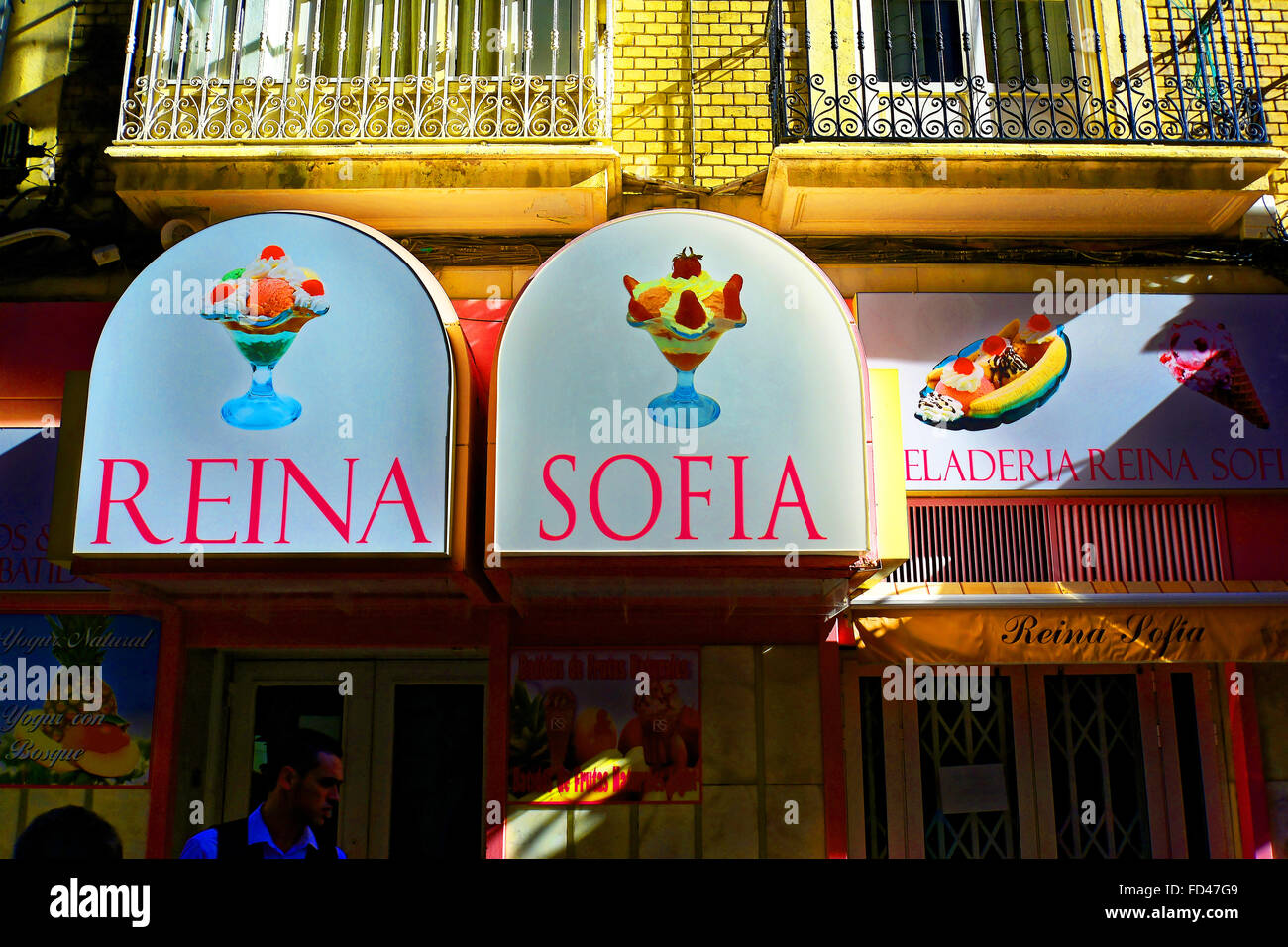 Spain Cartagena Reina Sofia ice cream heladeria Stock Photo