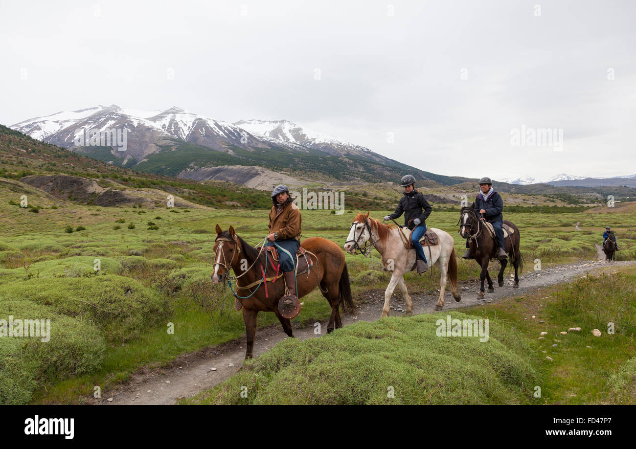 Horse Riding in Patagonia, Chile - Stock Image