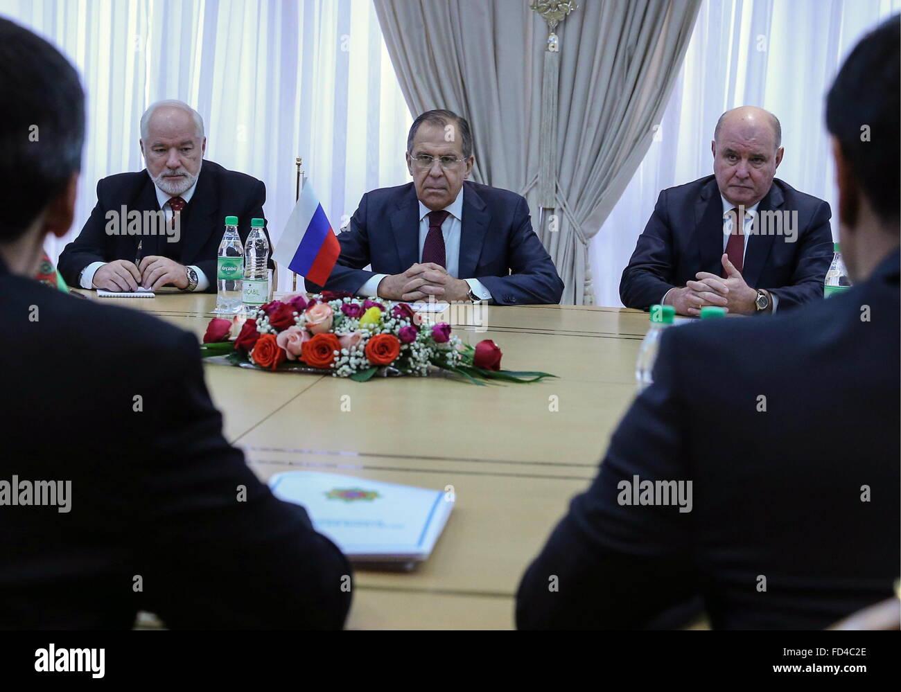 Ashgabat, Turkmenistan. 28th Jan, 2016. Russia's Ambassador to Turkmenistan Alexander Blokhin, Russia's - Stock Image