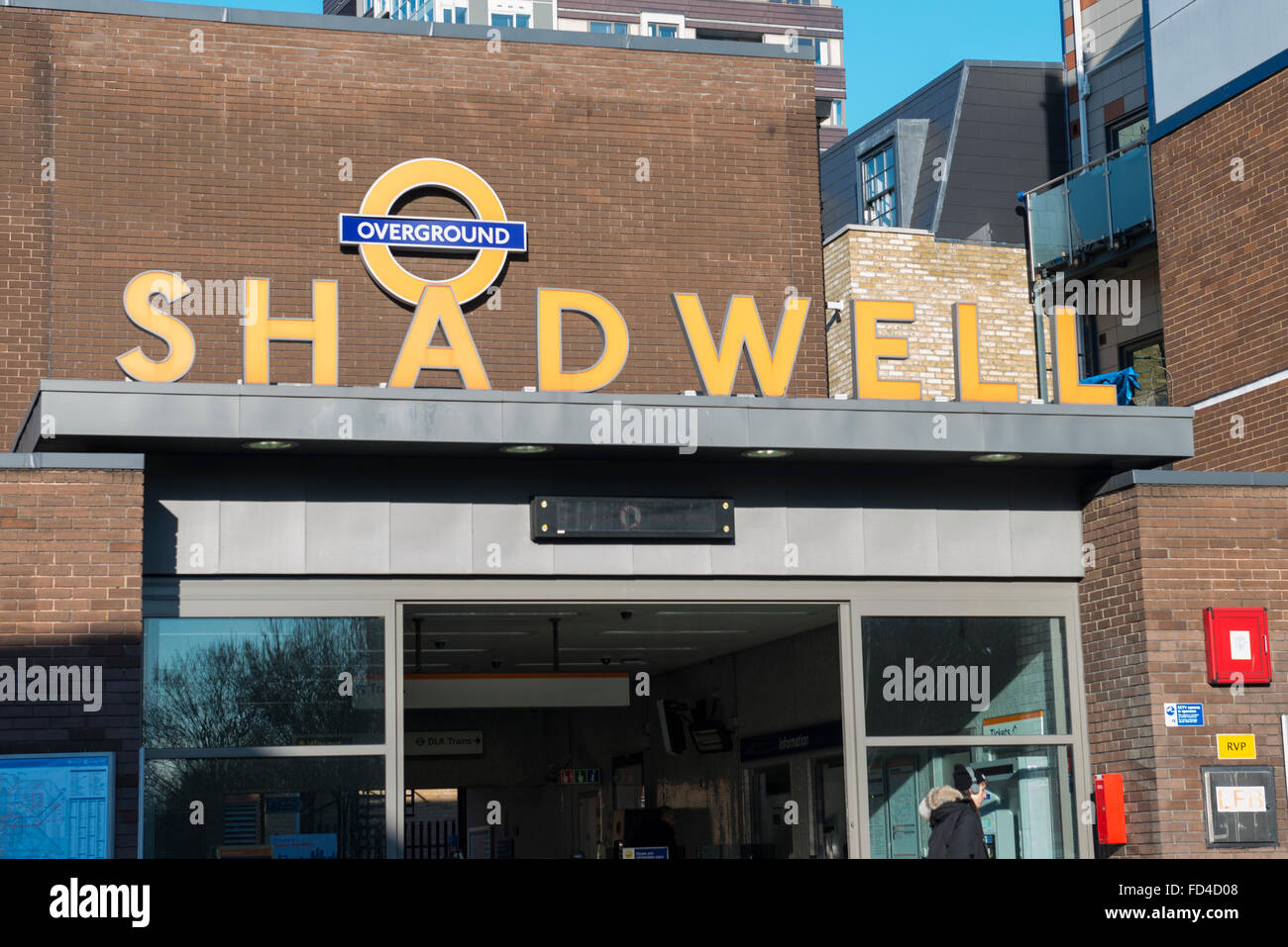 East End Wapping Shadwell DLR TFL Overground station entrance Transport for London subway Metro Docklands Light Stock Photo
