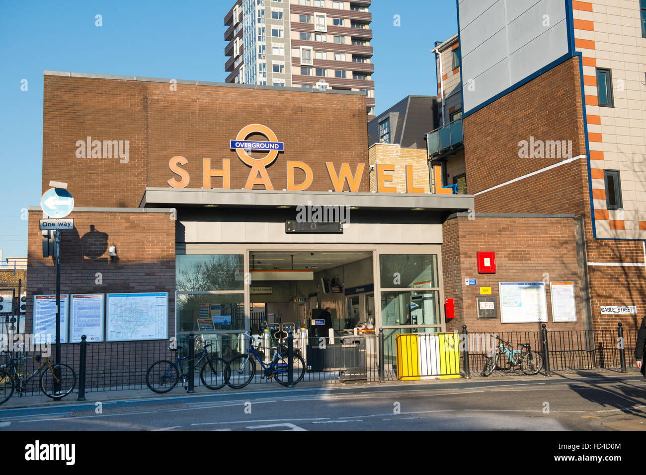 East End Wapping Shadwell DLR TFL Overground station entrance Transport for London subway Metro Docklands Light - Stock Image