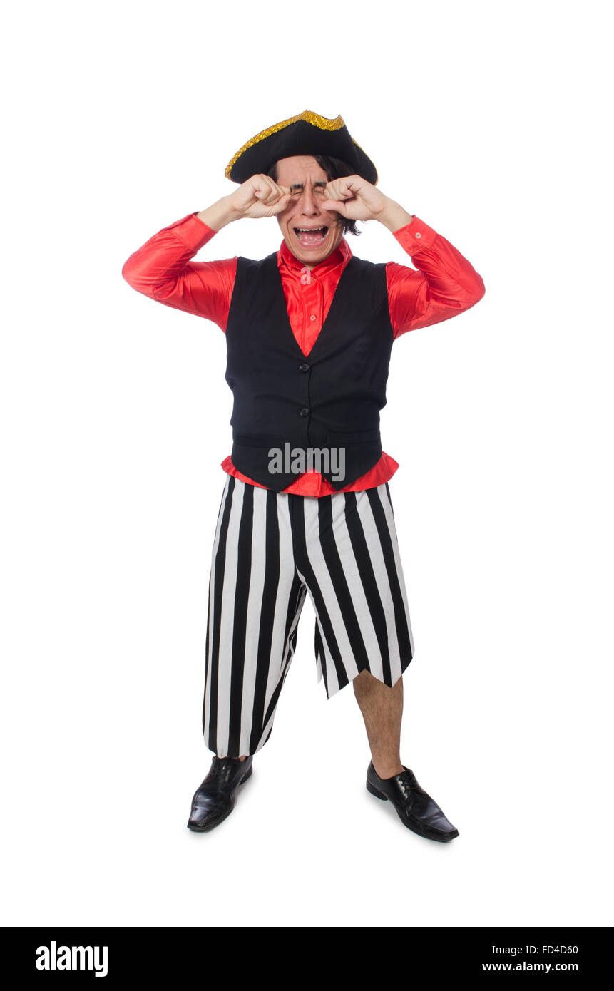 The funny pirate isolated on the white - Stock Image