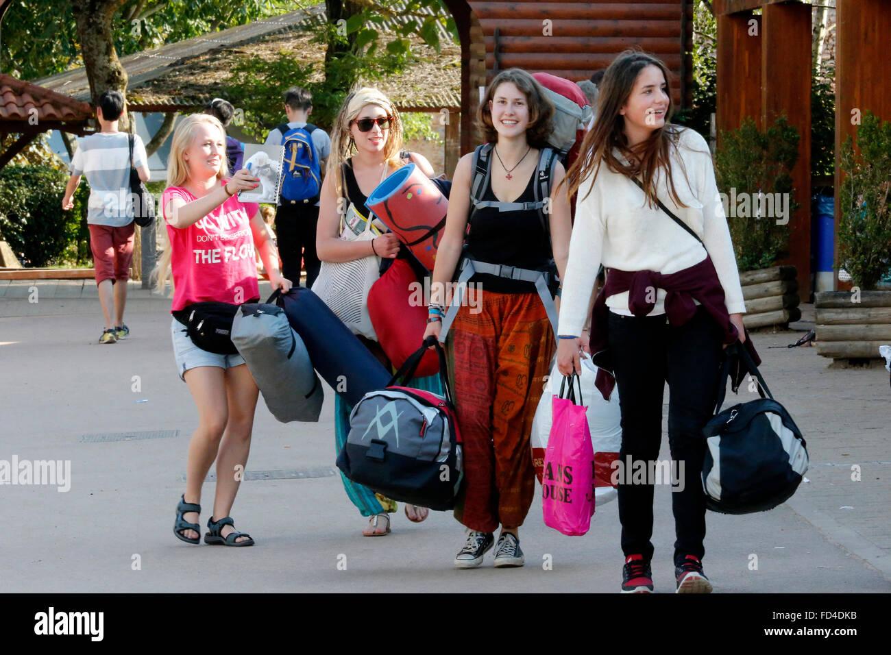 Taize Community.  New arrival of pilgrims. - Stock Image