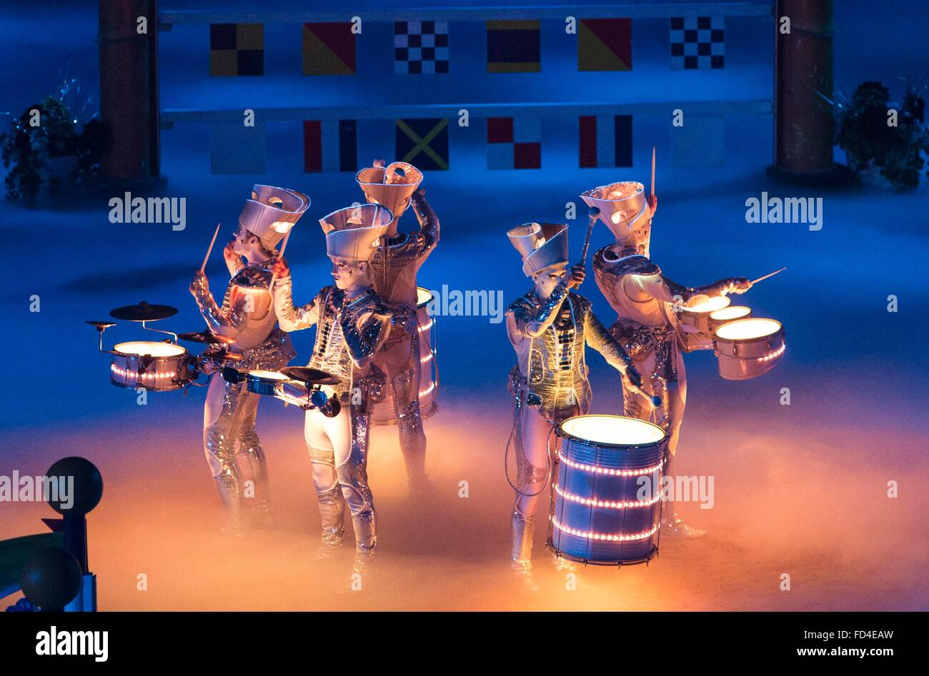 The Liverpool International Horse Show today (Sunday 3/1/16). The LED Drummers entertain the crowd. Stock Photo