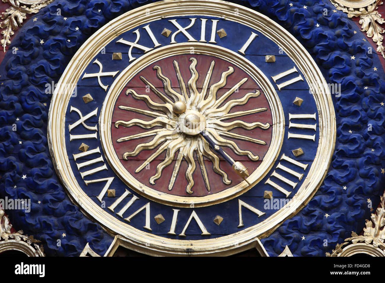 Gros Horloge, a fourteenth-century astronomical clock in Rouen. - Stock Image