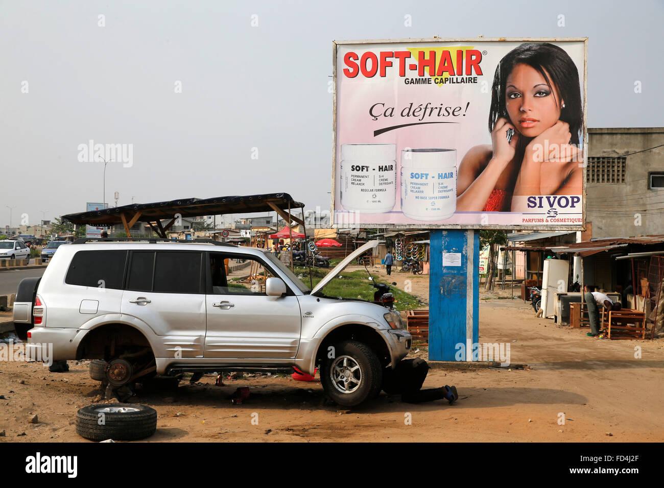 4-wheel drive car & cosmetic ad in Cotonou - Stock Image