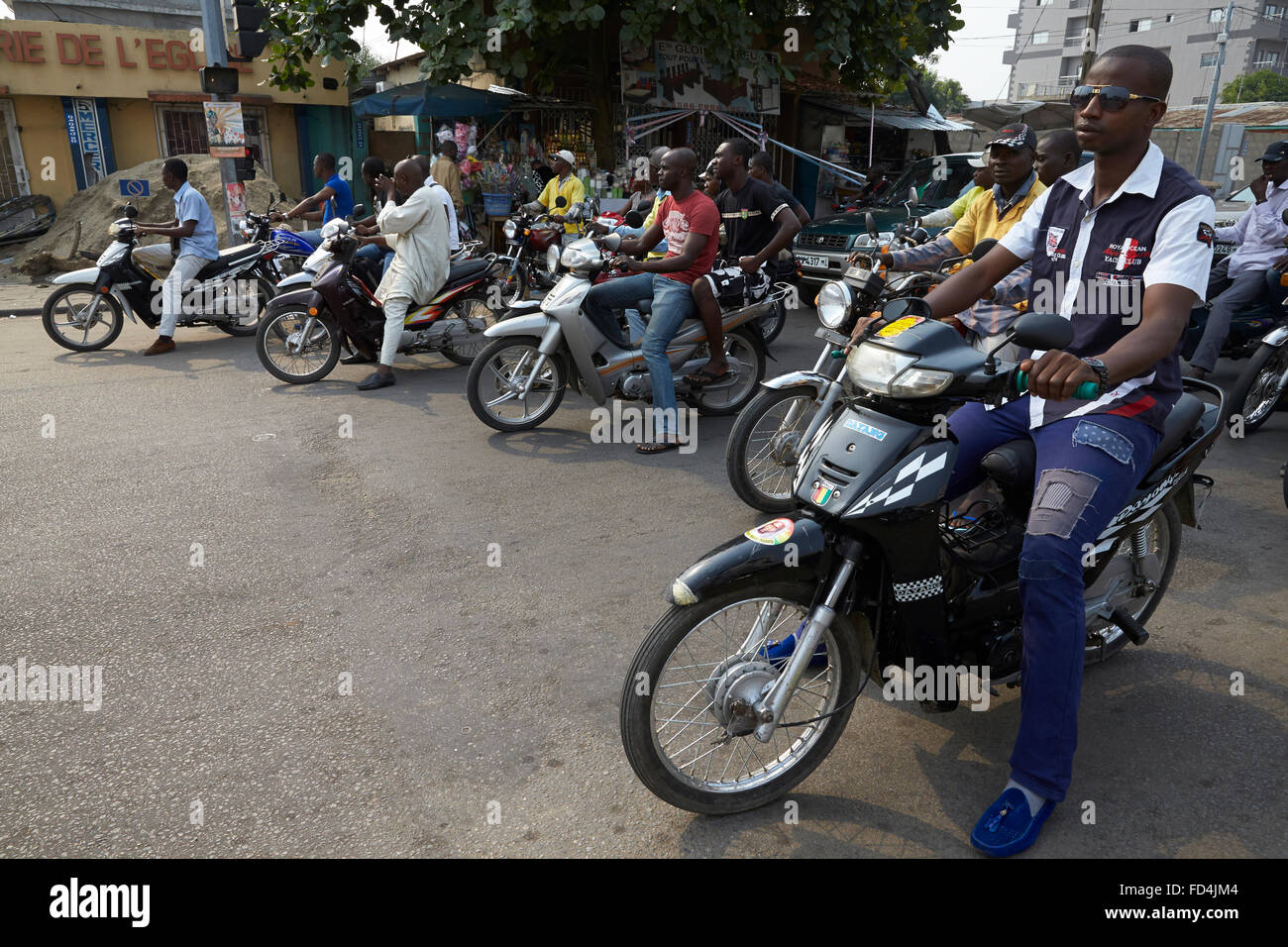Motorcycles in Cotonou - Stock Image