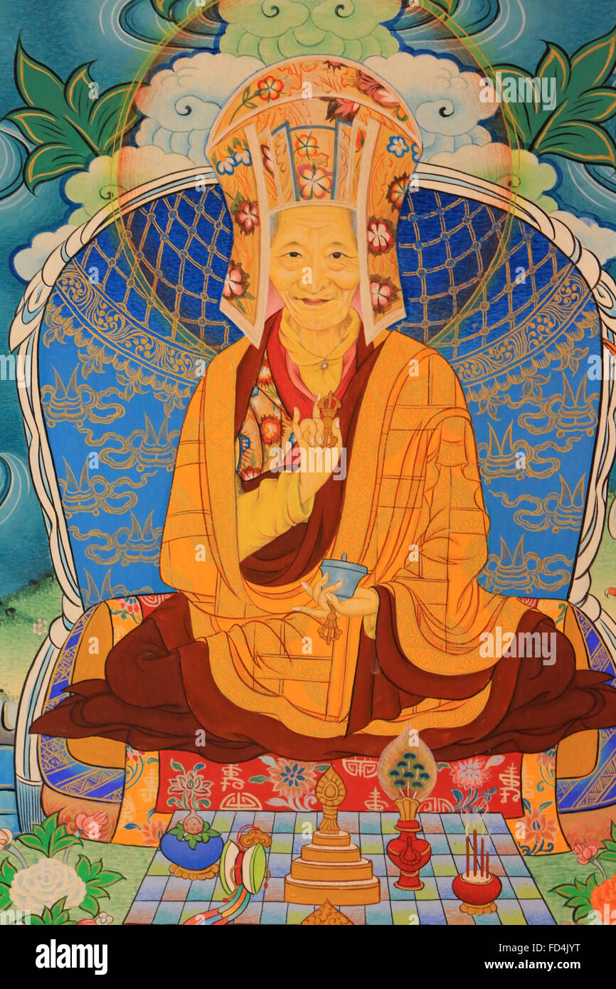 Creation of the community by the great Indian sage Kalu Rinpoche. Dashang Kagyu Ling congregation. Temple of the - Stock Image