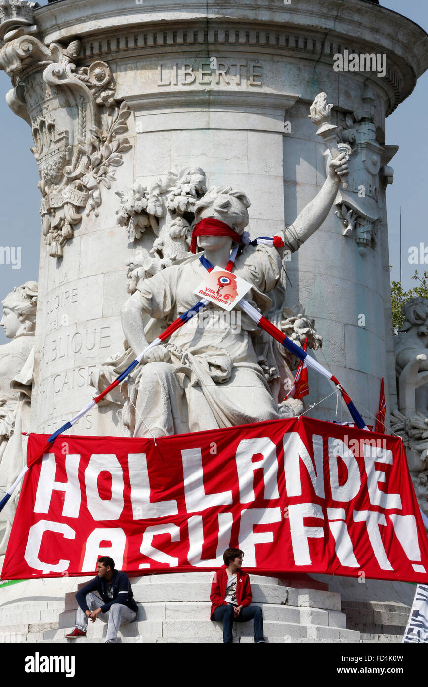 Demonstration against the French government policy of austerity. - Stock Image