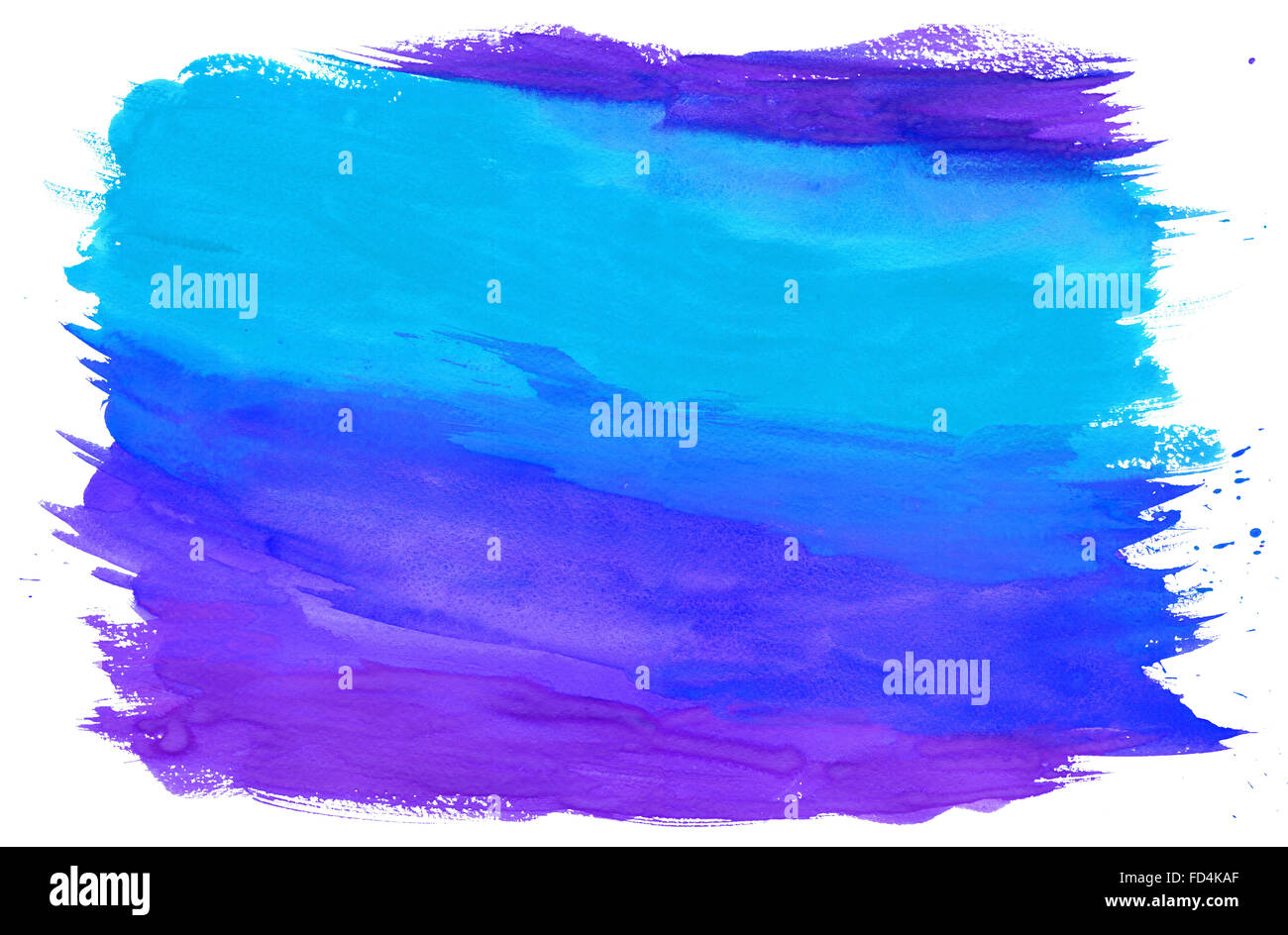 Gouache Painting Textured Background Blue and Purple - Stock Image