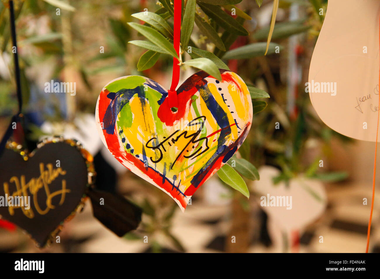 Heart signed by Sting. - Stock Image