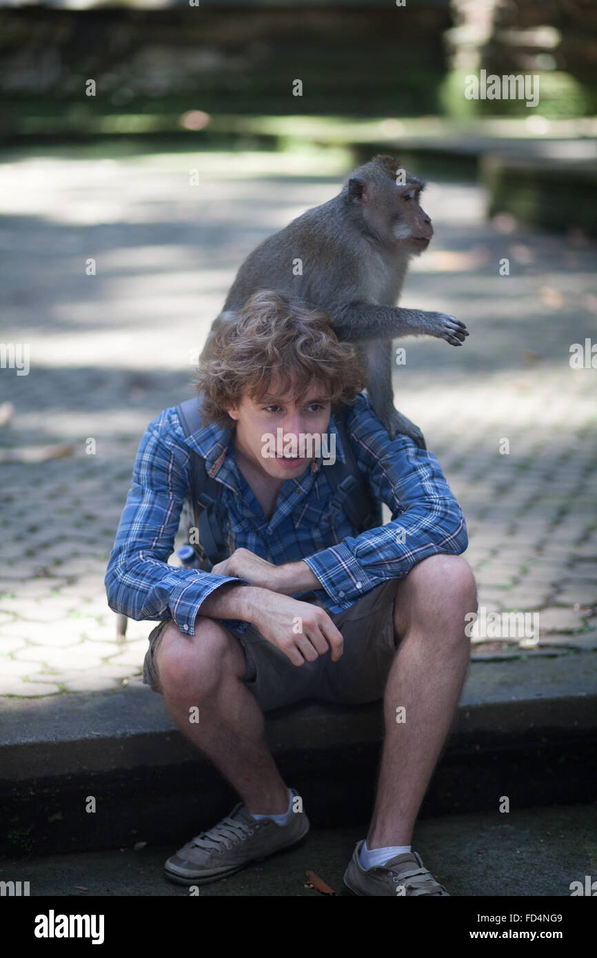 Young Man Carrying Monkey On Shoulder On Street Stock Photo