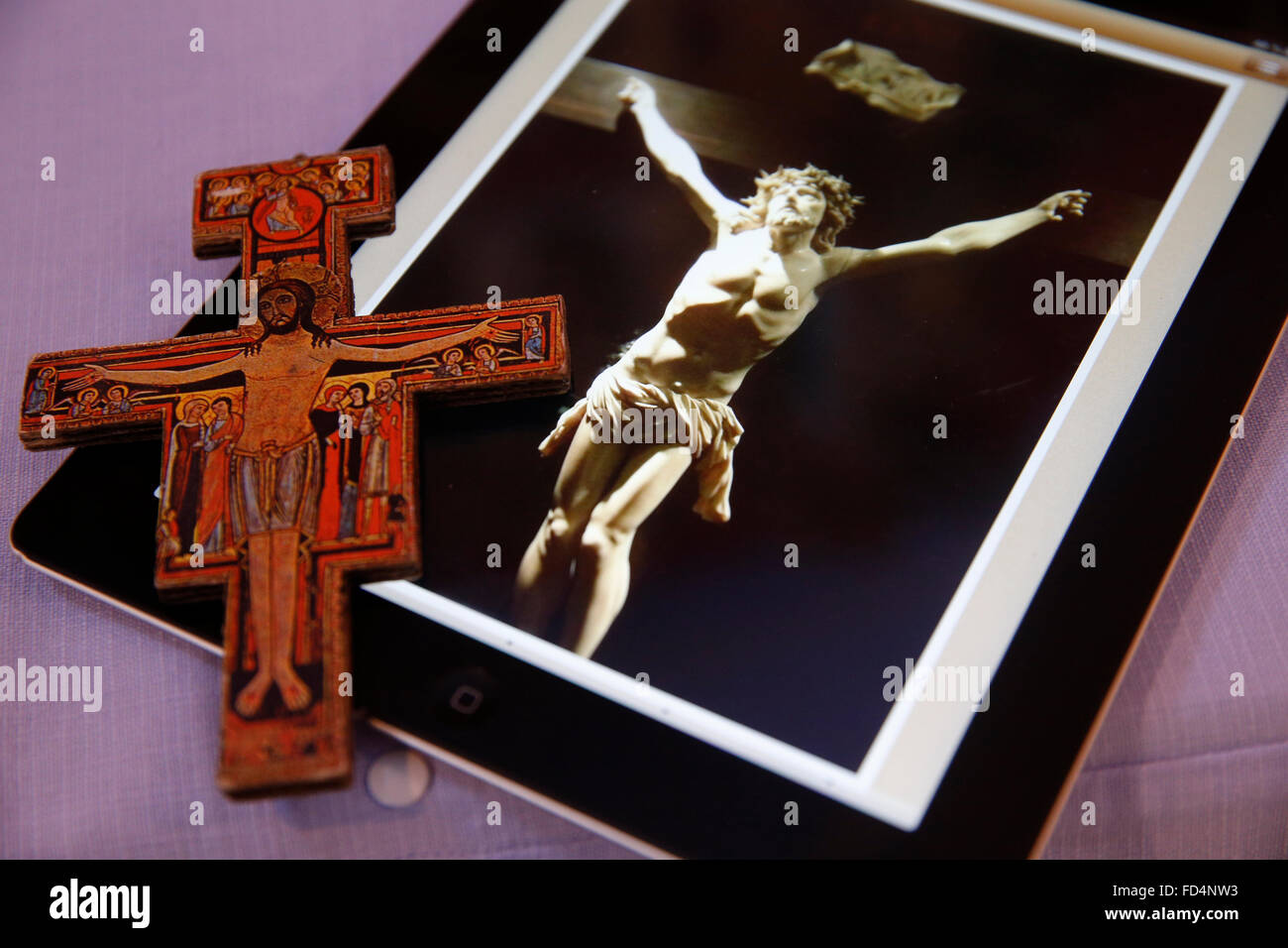 Picture of Jesus Christ on an Ipad in a church. - Stock Image