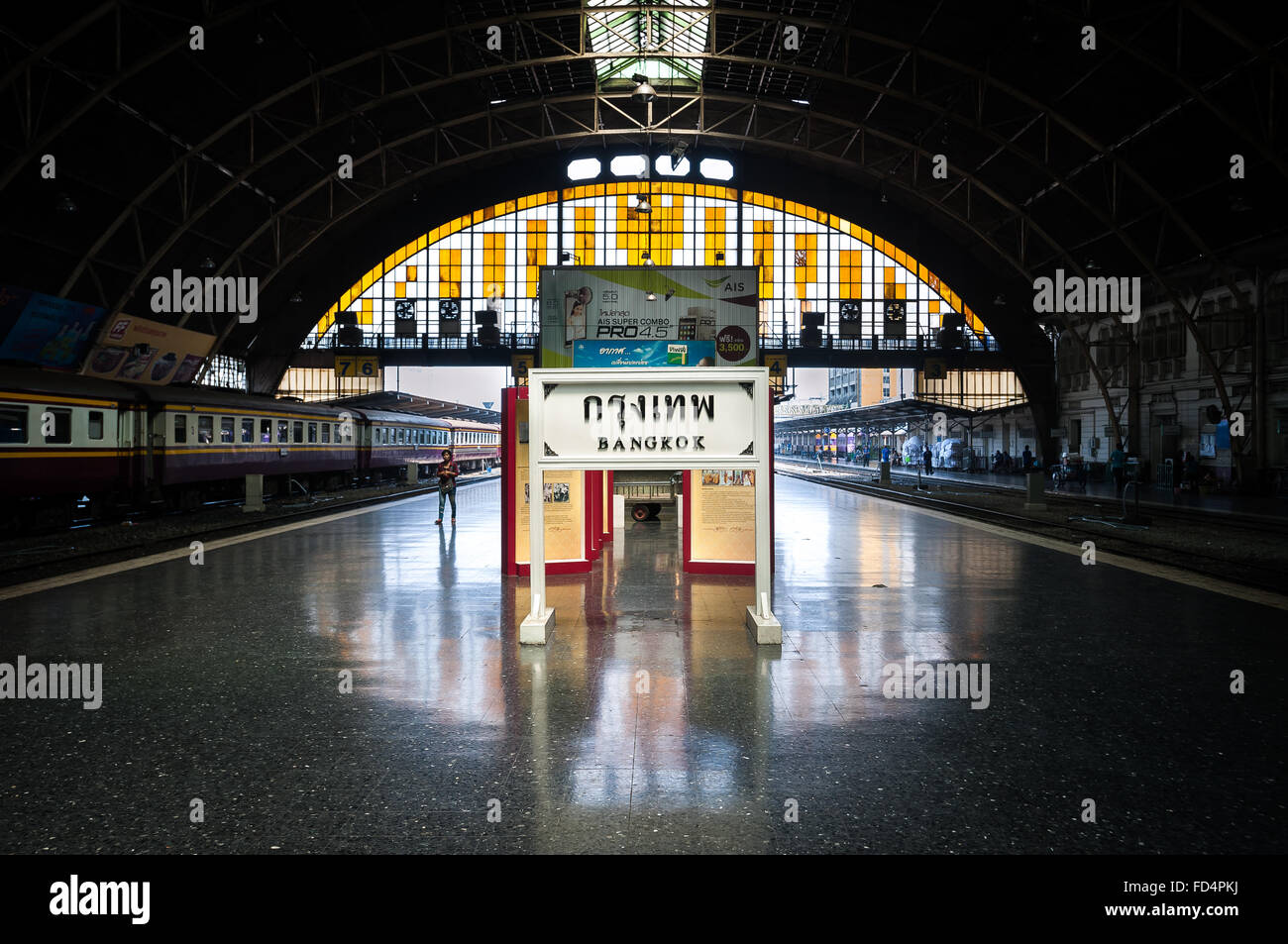 Destination sign on the platform of Hua Lamphong railway station, Bangkok, Thailand - Stock Image