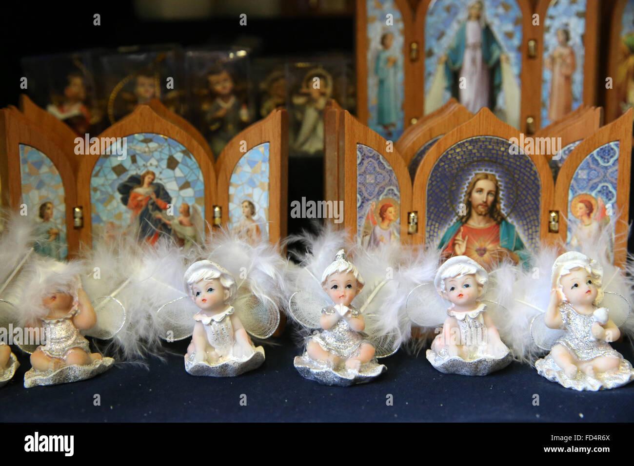 Catholic Faith Store. Religious articles. Angels. - Stock Image