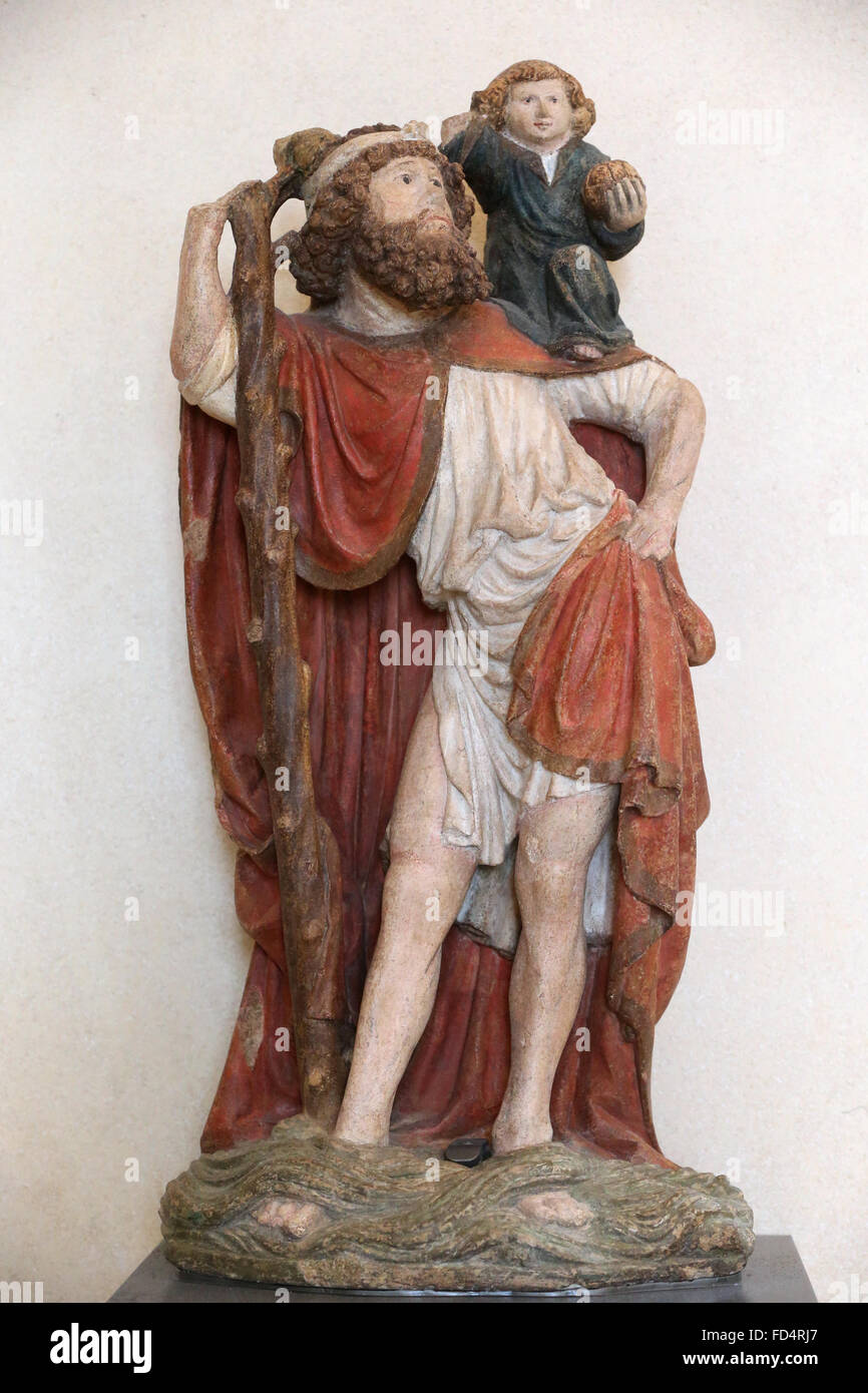 The Louvre Museum. Saint Christopher carrying the Christ Child. 15th Century. Stock Photo