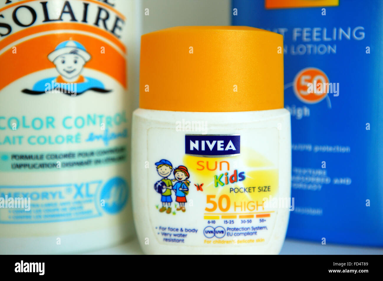 High factor sun screen for kids - Stock Image