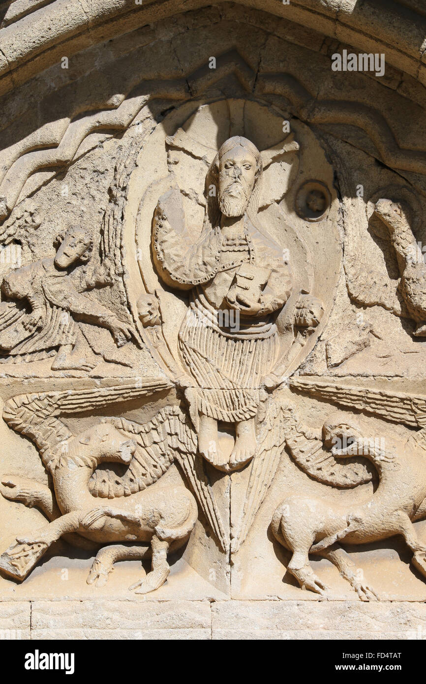 Ganagobie Abbey.  The four winged creatures that symbolise the Four Evangelists surround Christ in Majesty. - Stock Image