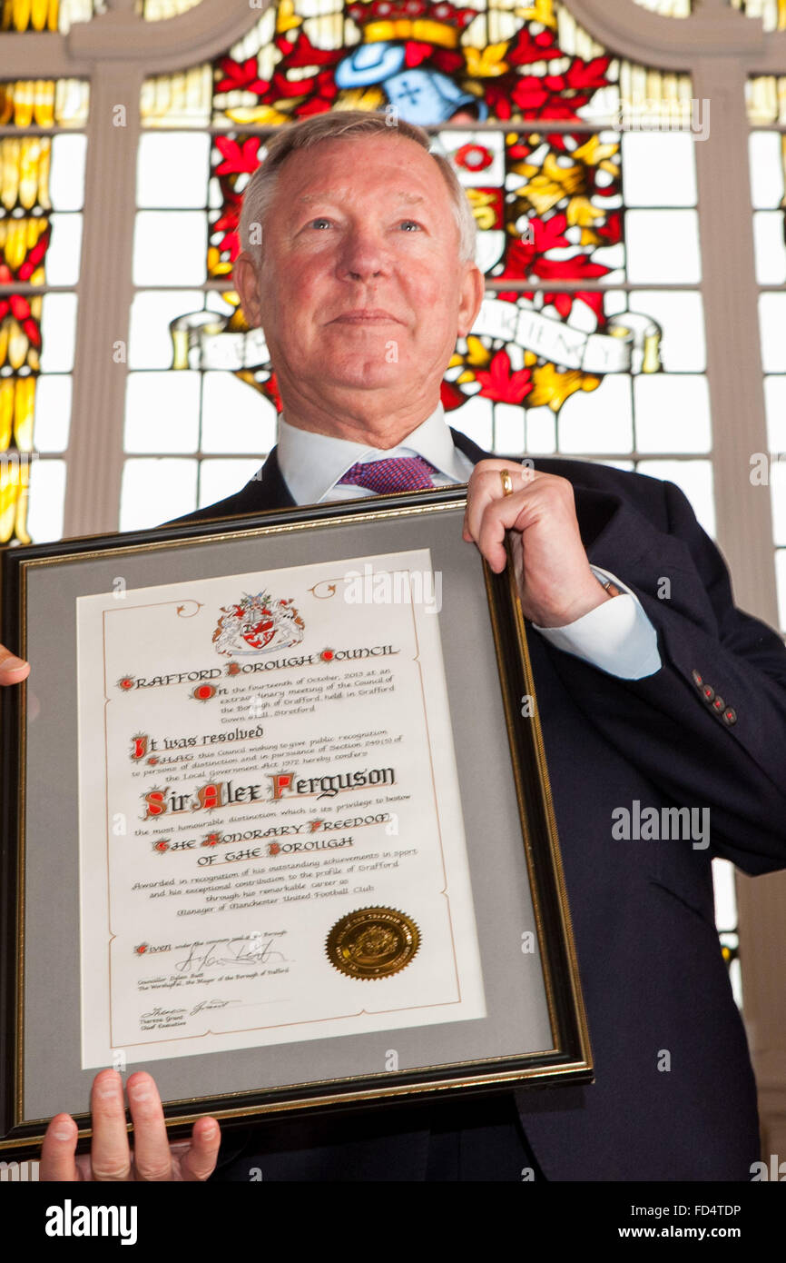 Sir Alex Ferguson , former manager of Manchester United Football Club , receives the Freedom of the Borough of Trafford - Stock Image