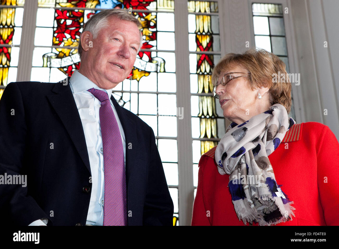 Sir Alex Ferguson , former manager of Manchester United Football Club , receives the Freedom of the Borough of Trafford. - Stock Image