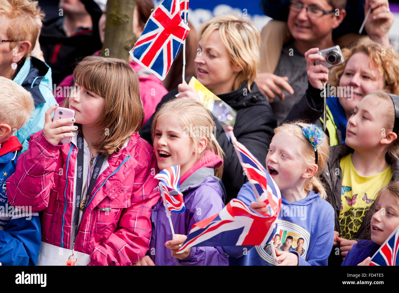 Olympic torch relay at Bury Town Hall . - Stock Image