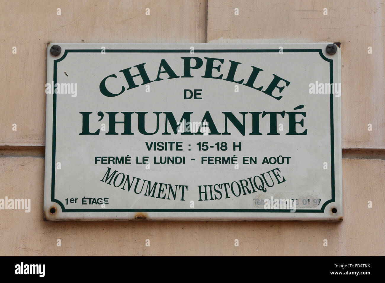 Humanity Temple sign. - Stock Image
