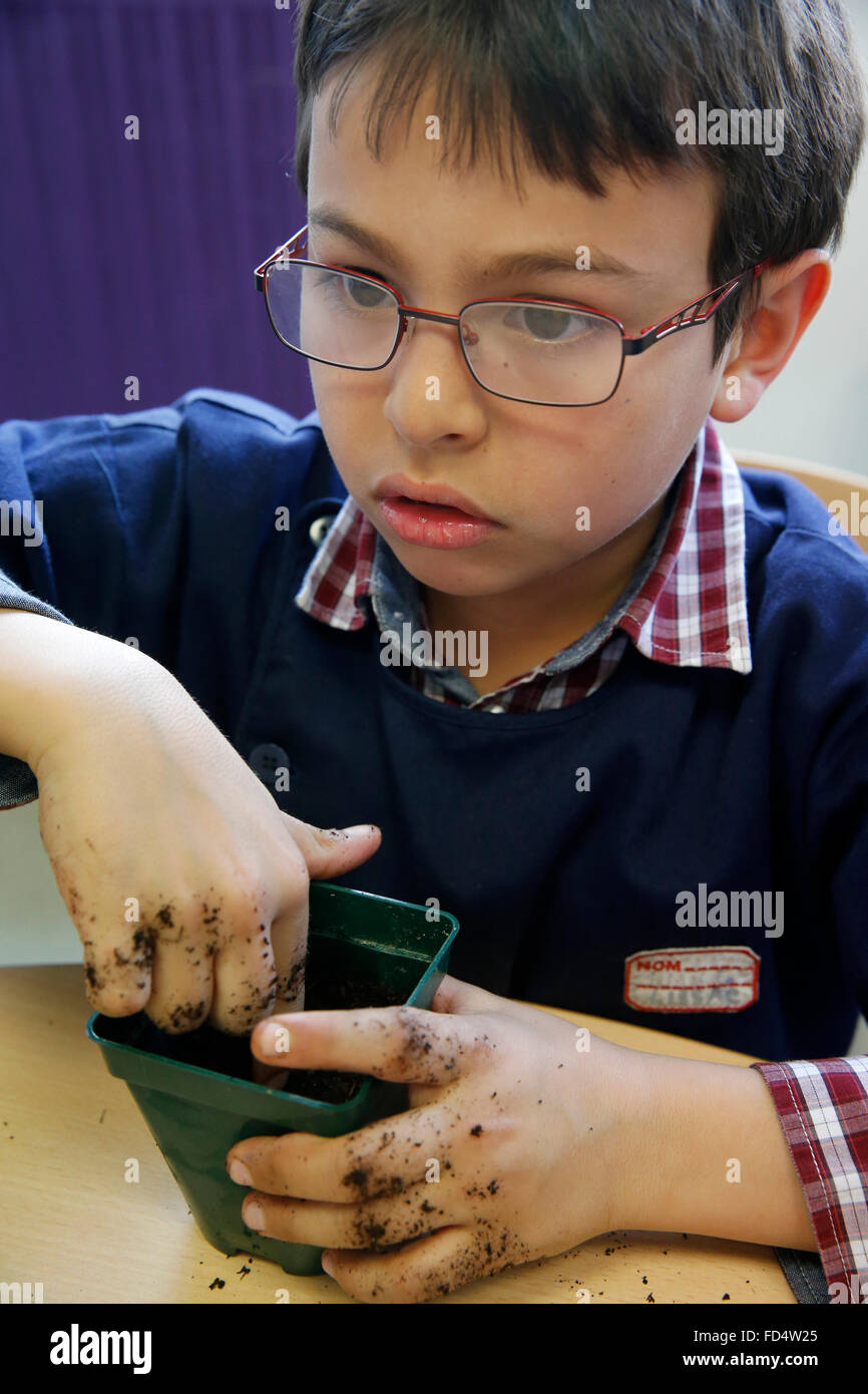 Child filling a pot with earth - Stock Image